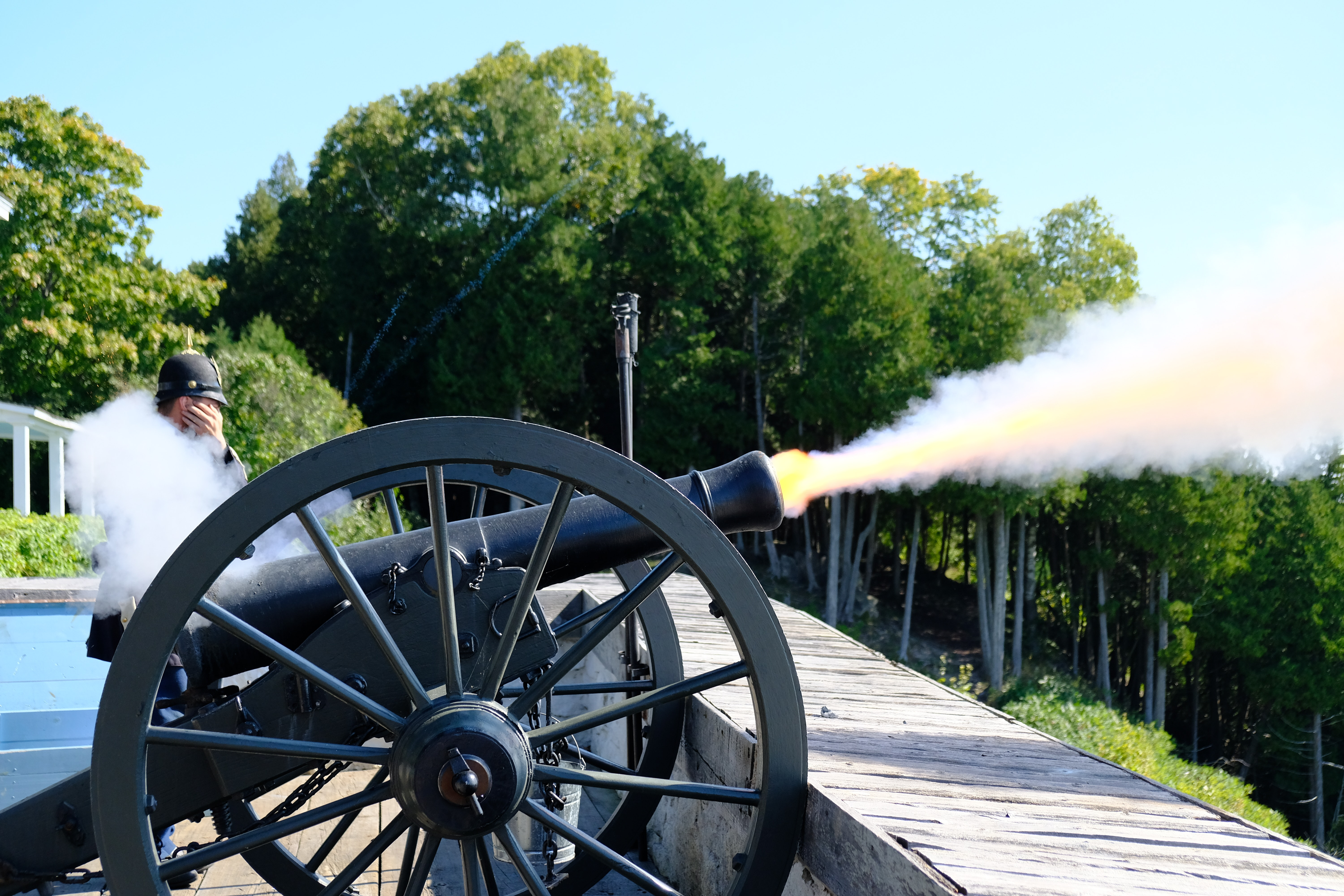 Free stock photo of cannon, fire, shot