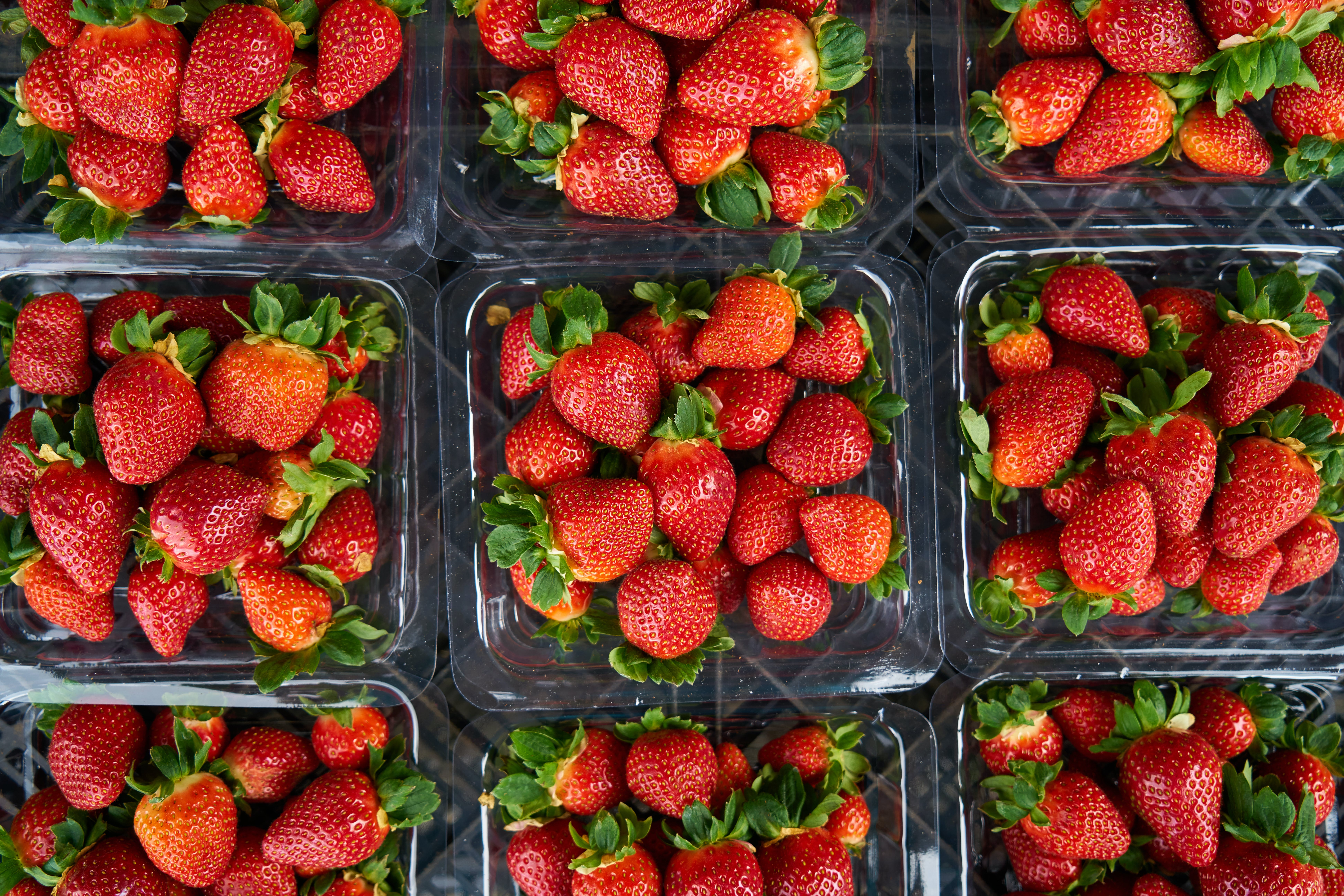 Top View Photo of Strawberries on Plastic Container