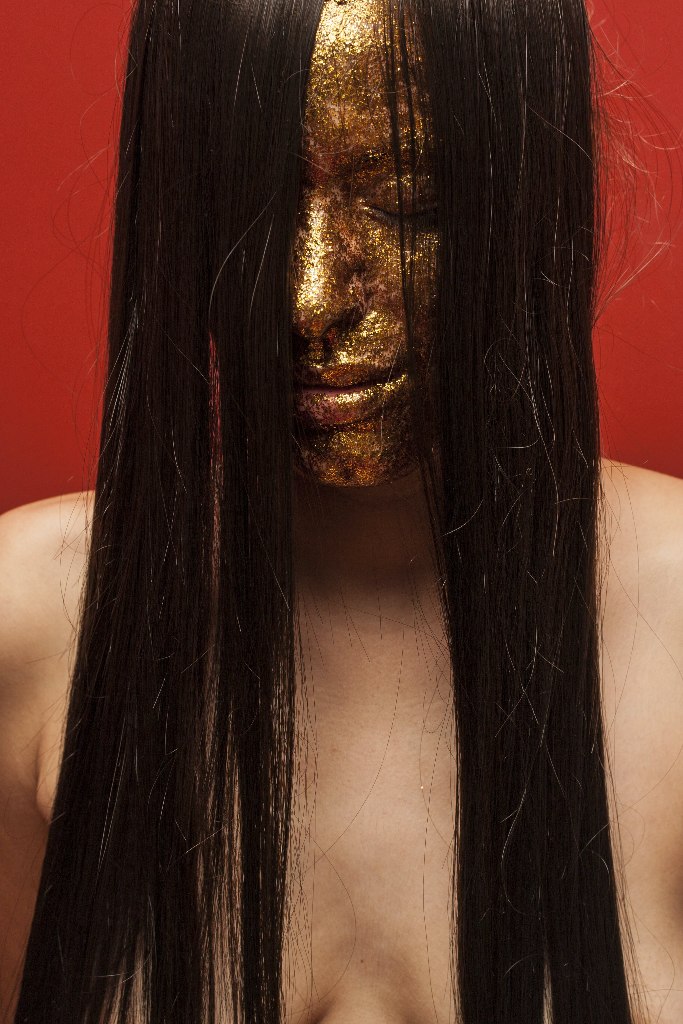 Woman With Gold Face Paint