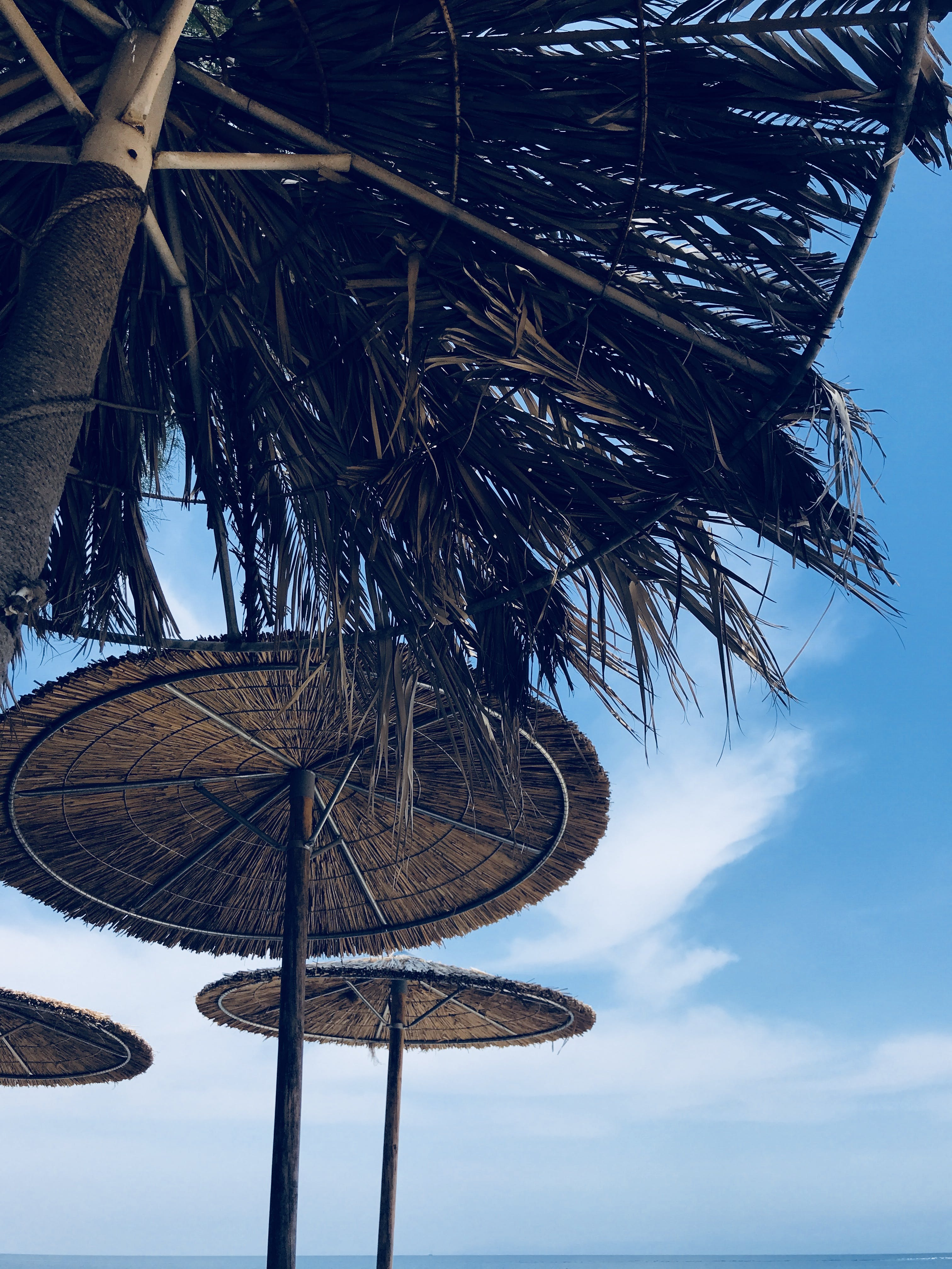 Low Angle Photography of Brown Wicker Umbrella