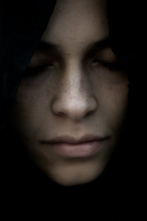 Woman With Black Hair Closeup Photography