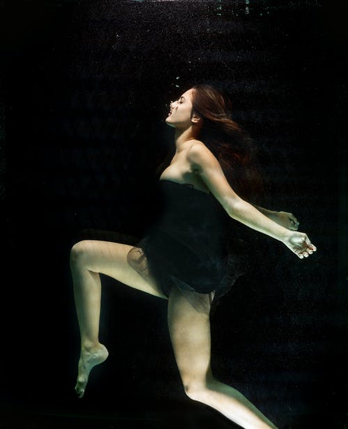 Close-up Photo of Woman in Underwater View