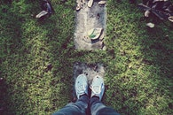 grass, shoes, leaves