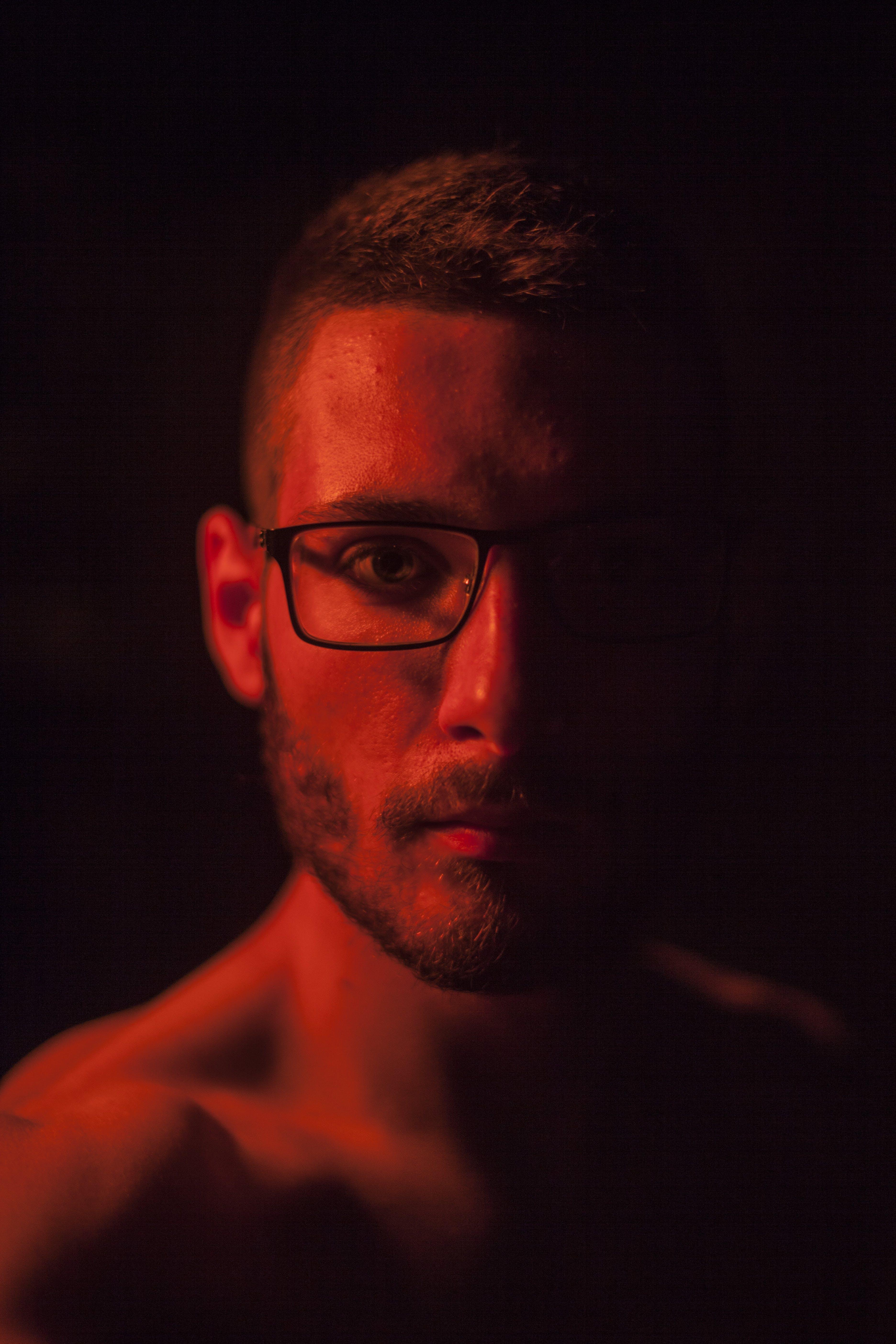 Man With Beard and Black Framed Eyeglasses