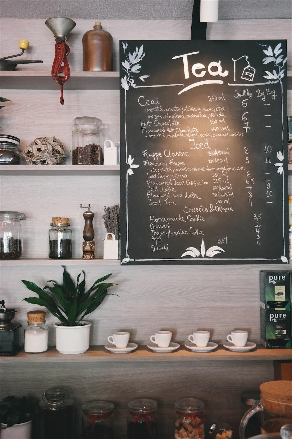 board, café, coffee cup