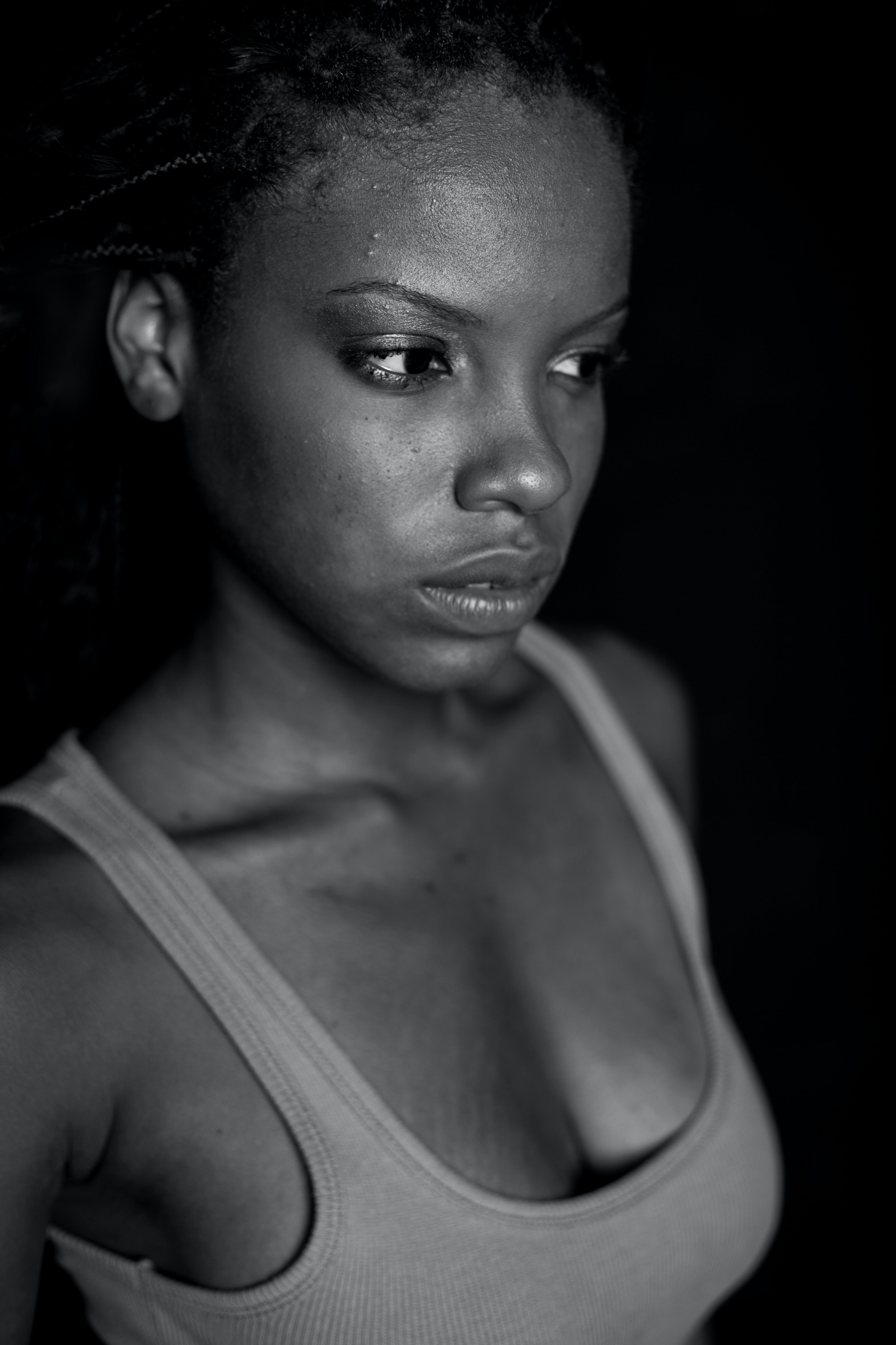 Grayscale Photography of Woman Wearing Tank Top
