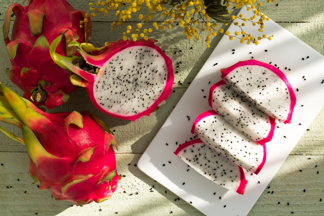 Sliced Dragon Fruits on Plate