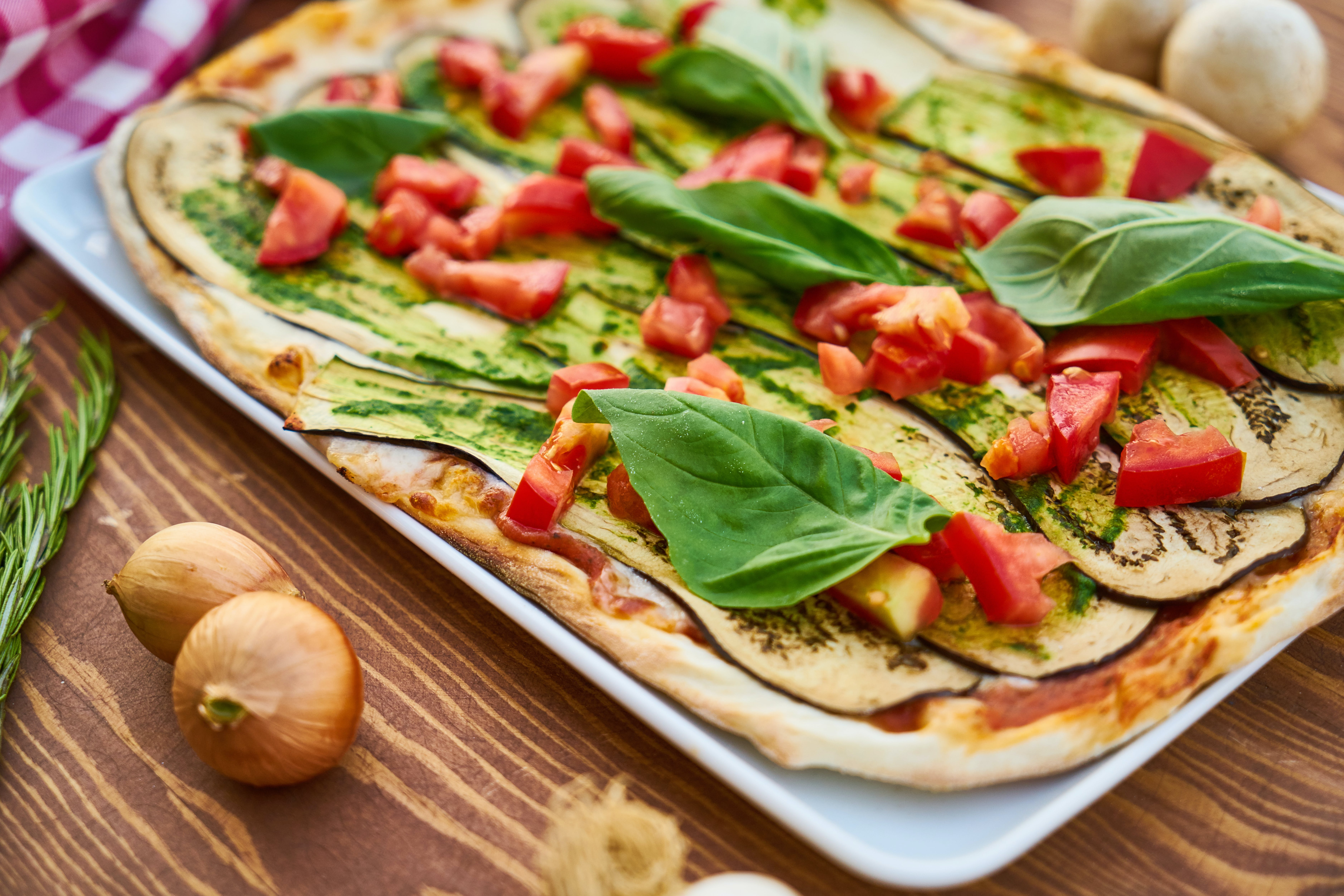 Baked Eggplant With Sliced Tomatoes and Spinach