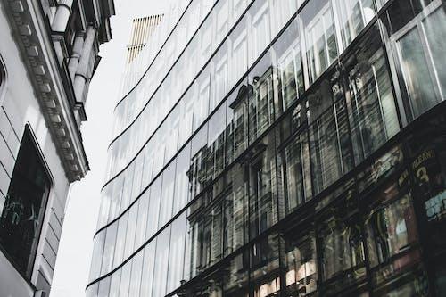 Immagine gratuita di acciaio, architettura, bianco e nero, bicchiere