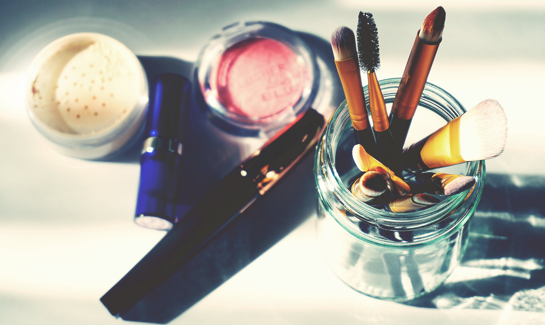 blusher, børste, close-up
