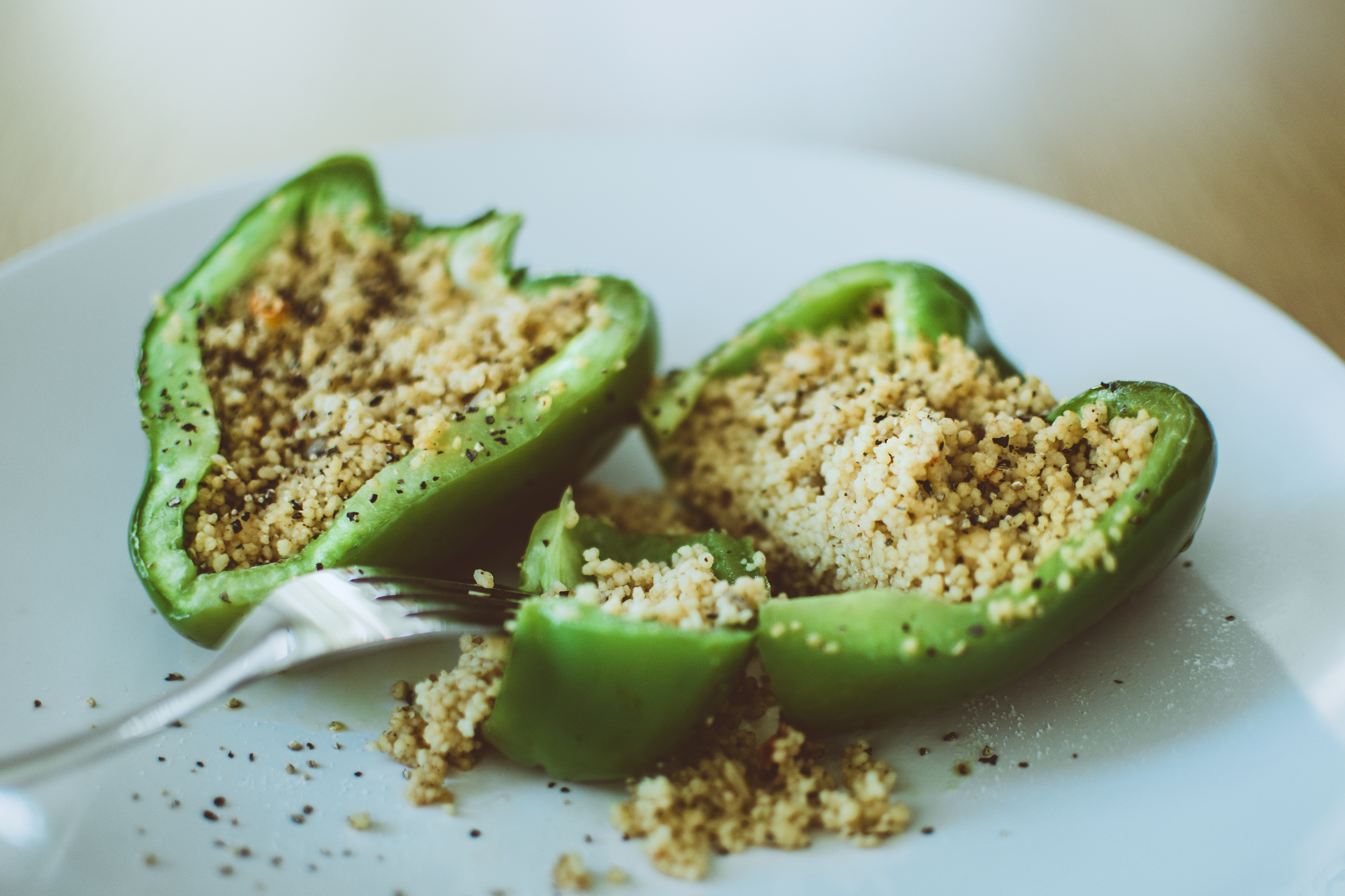 Green Bell Pepper Stuffed With Couscous