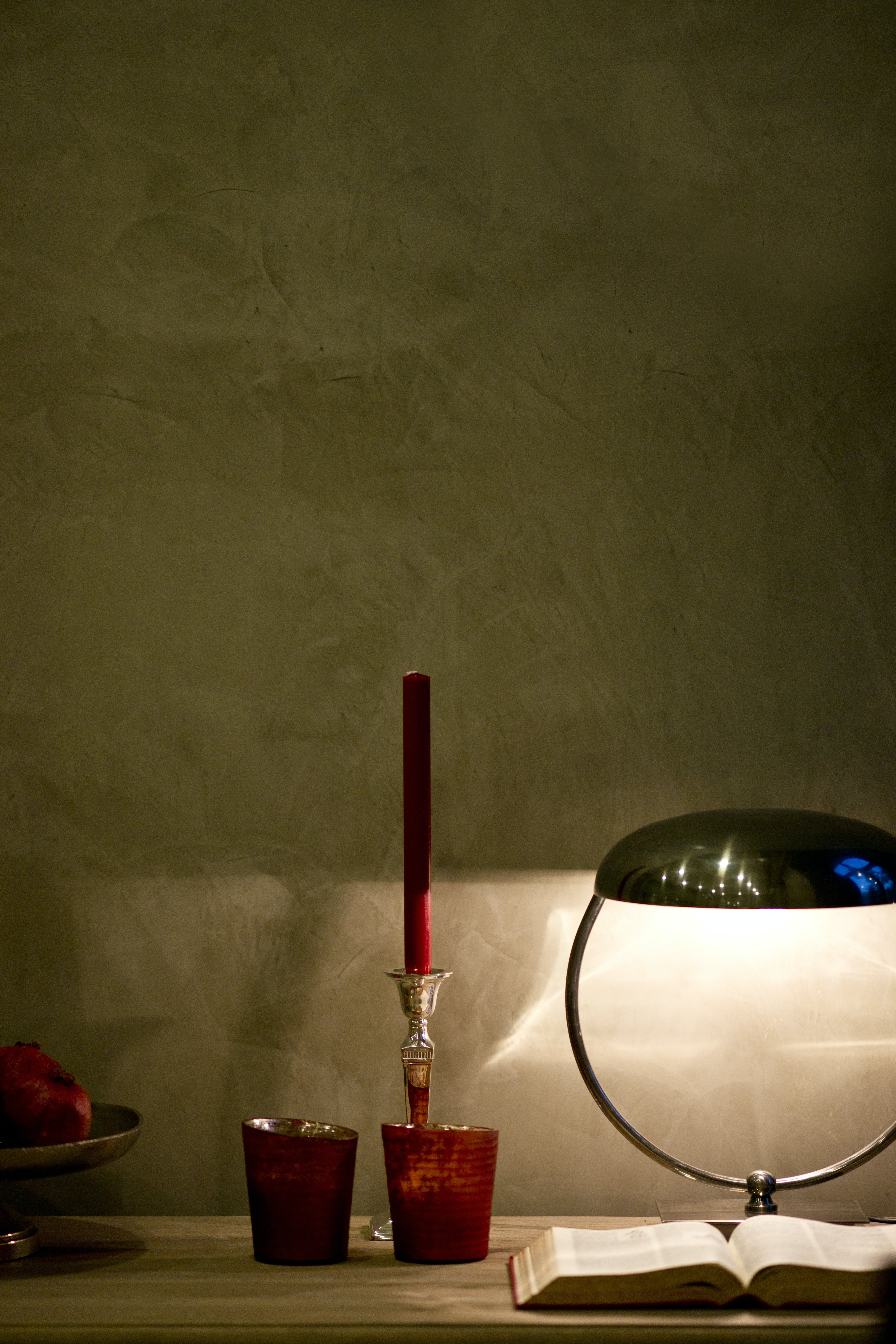 Silver Table Lamp Beside Opened B