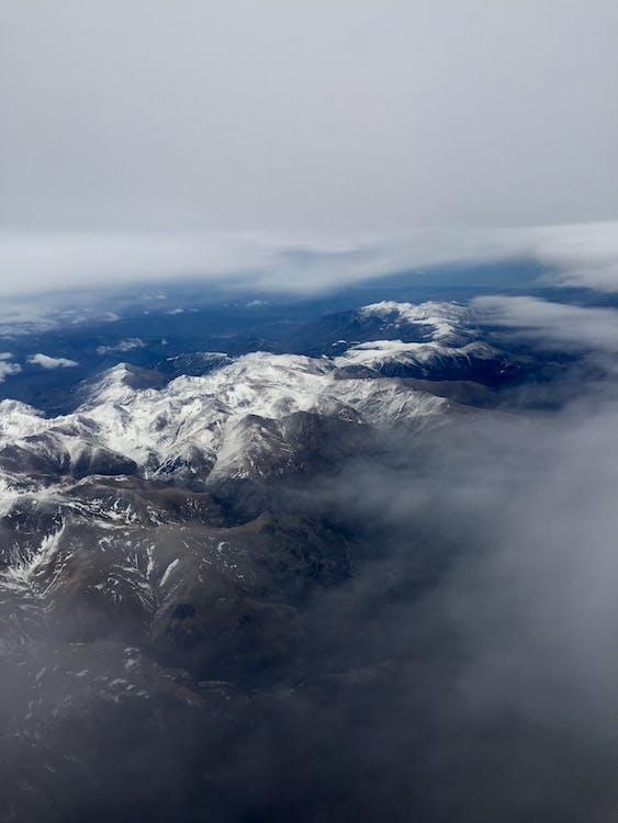 bjerg, dagslys, dramatisk