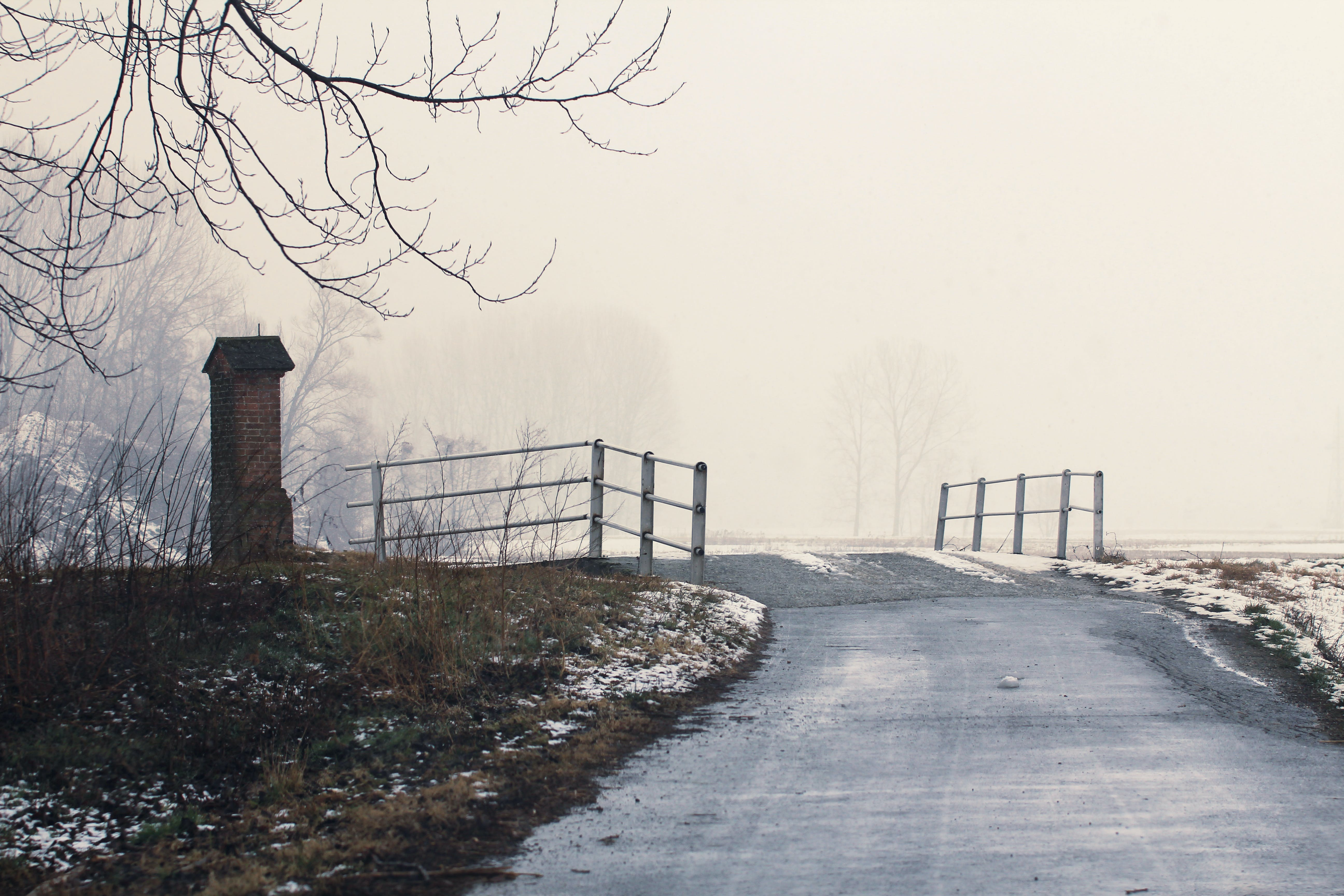 Gray Concrete Road With Mist