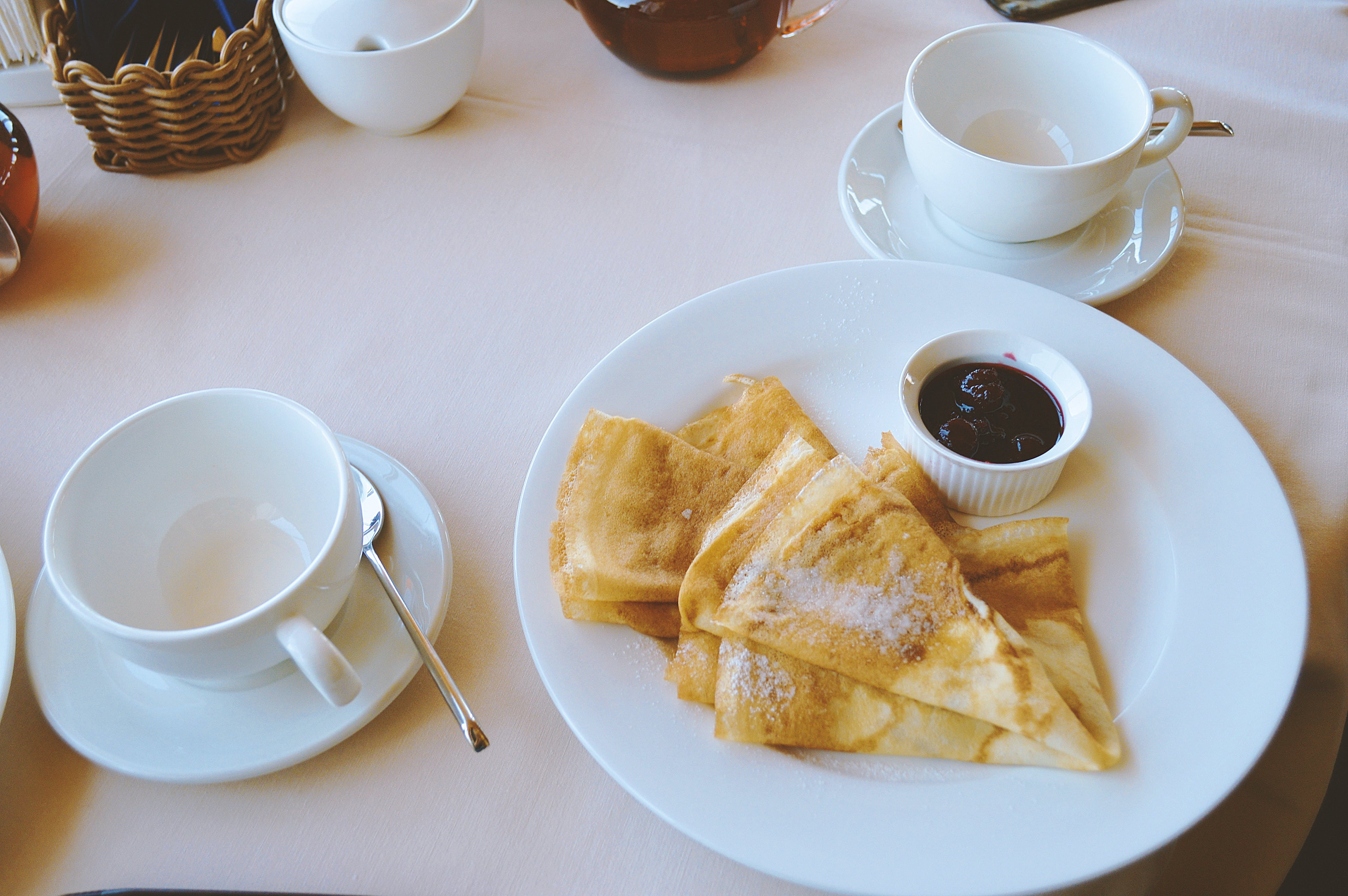 Pan Cakes Served on White Ceramic Plate