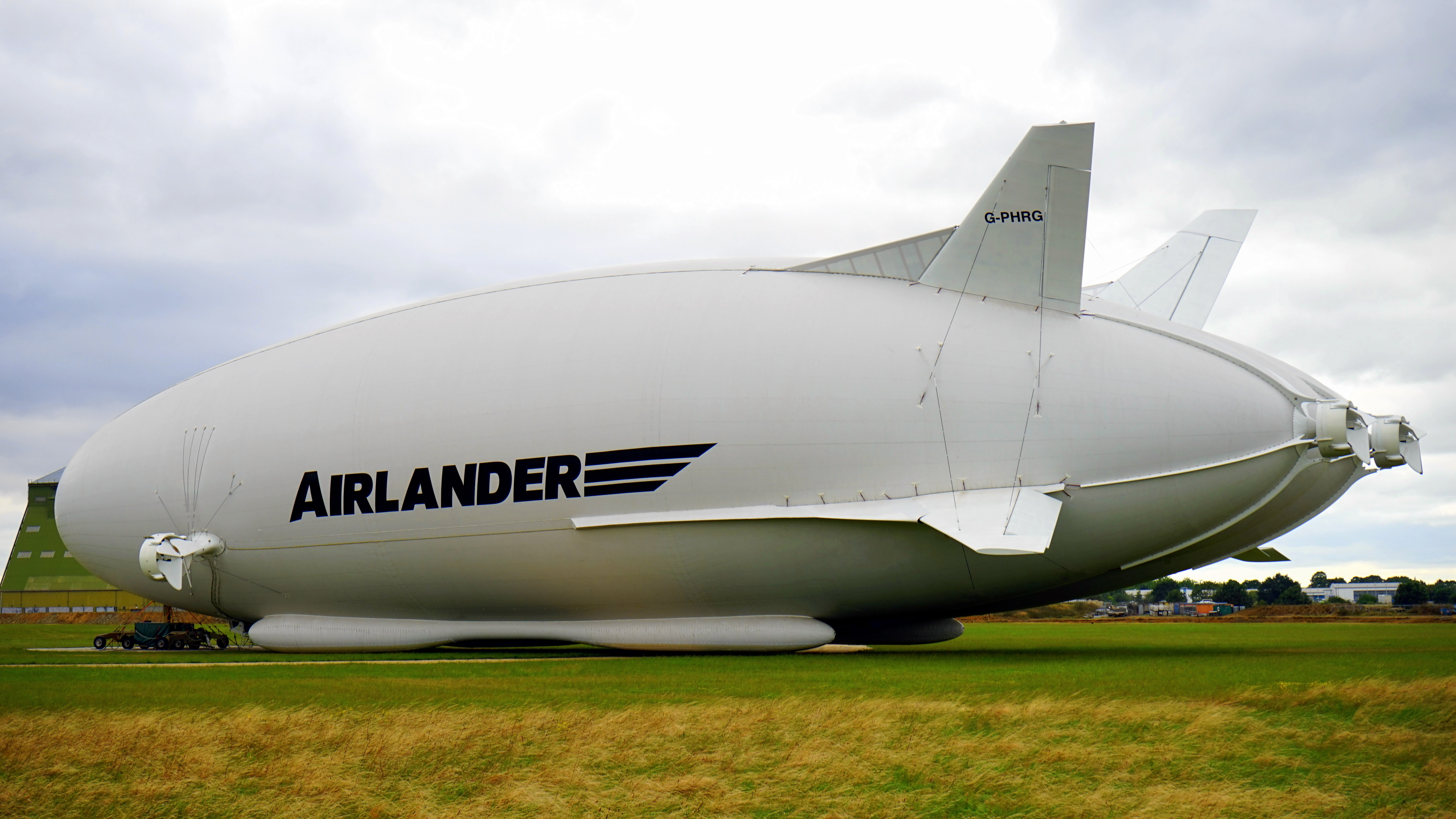 White Airlander on Green Grass