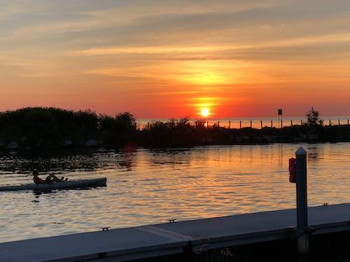 Free stock photo of kayak, serene, sunset