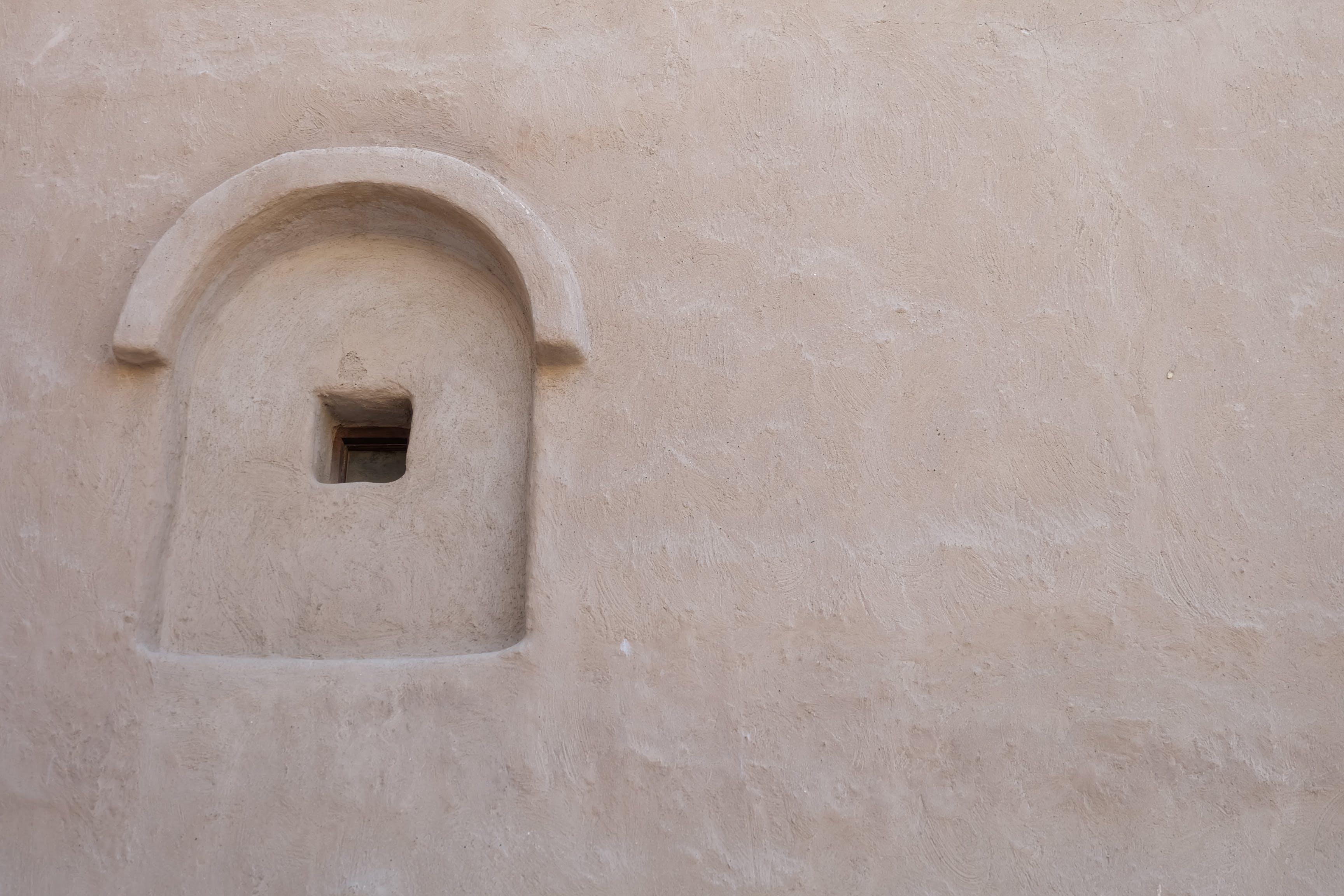 außen, beton, bogenfenster