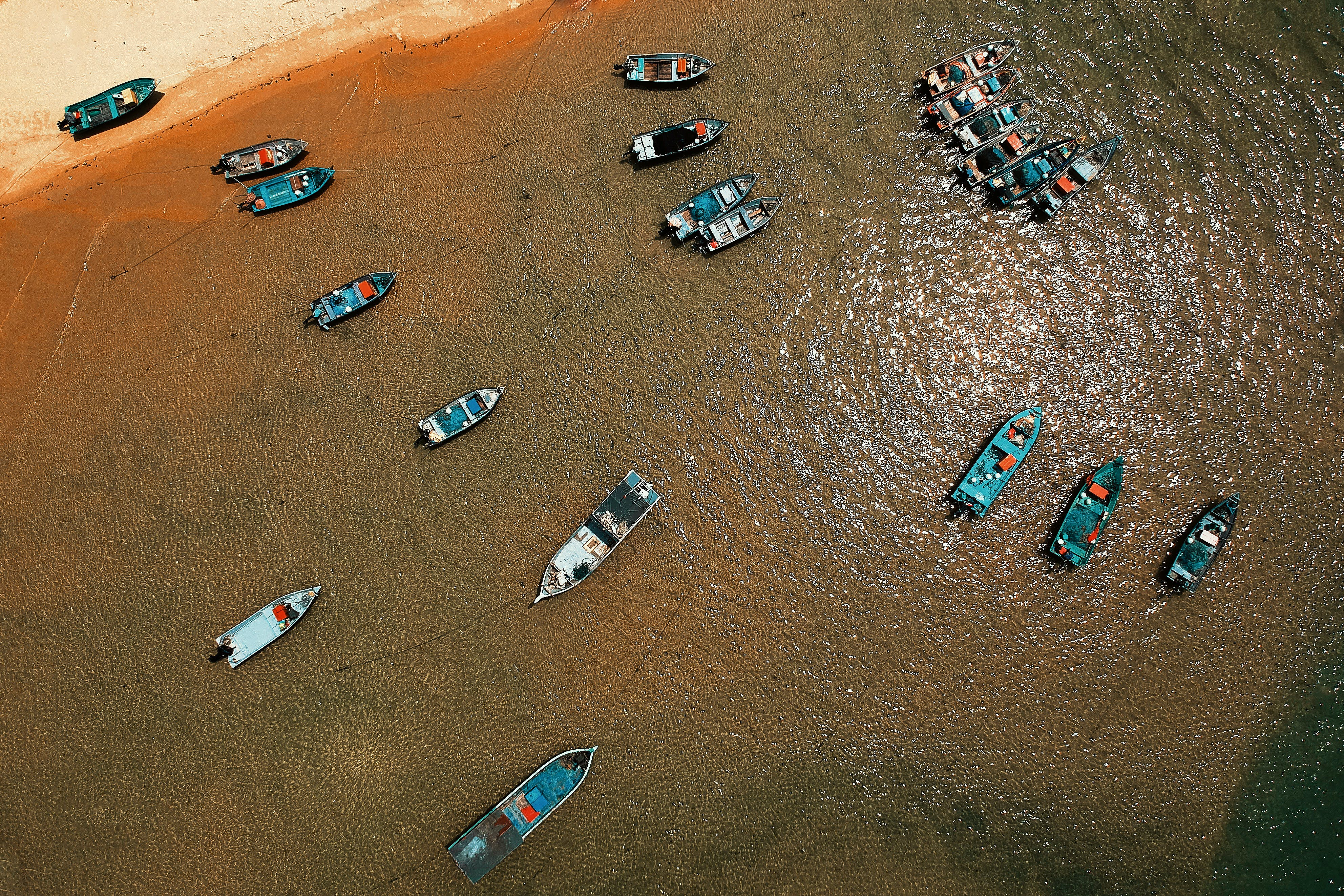 Aerial View of Boats Cruising on Water