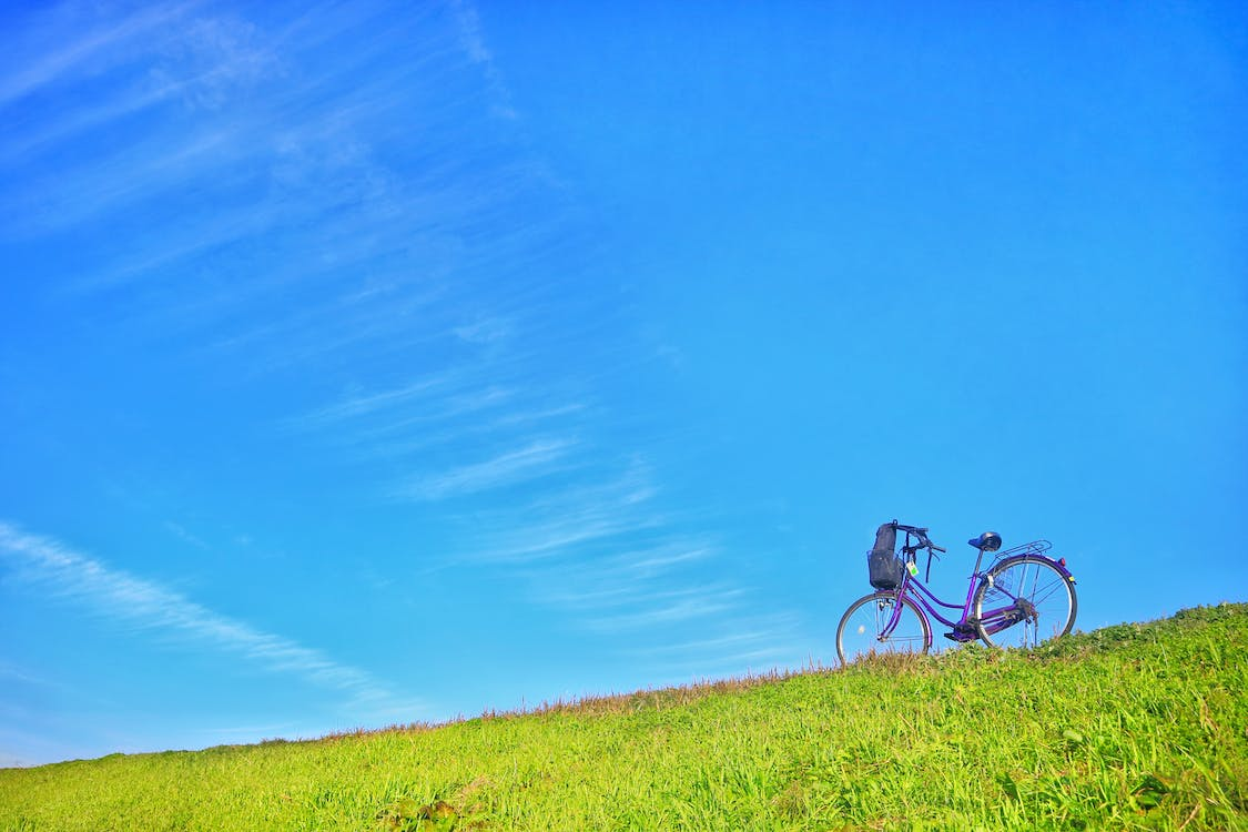 bicycle, blue sky, clear