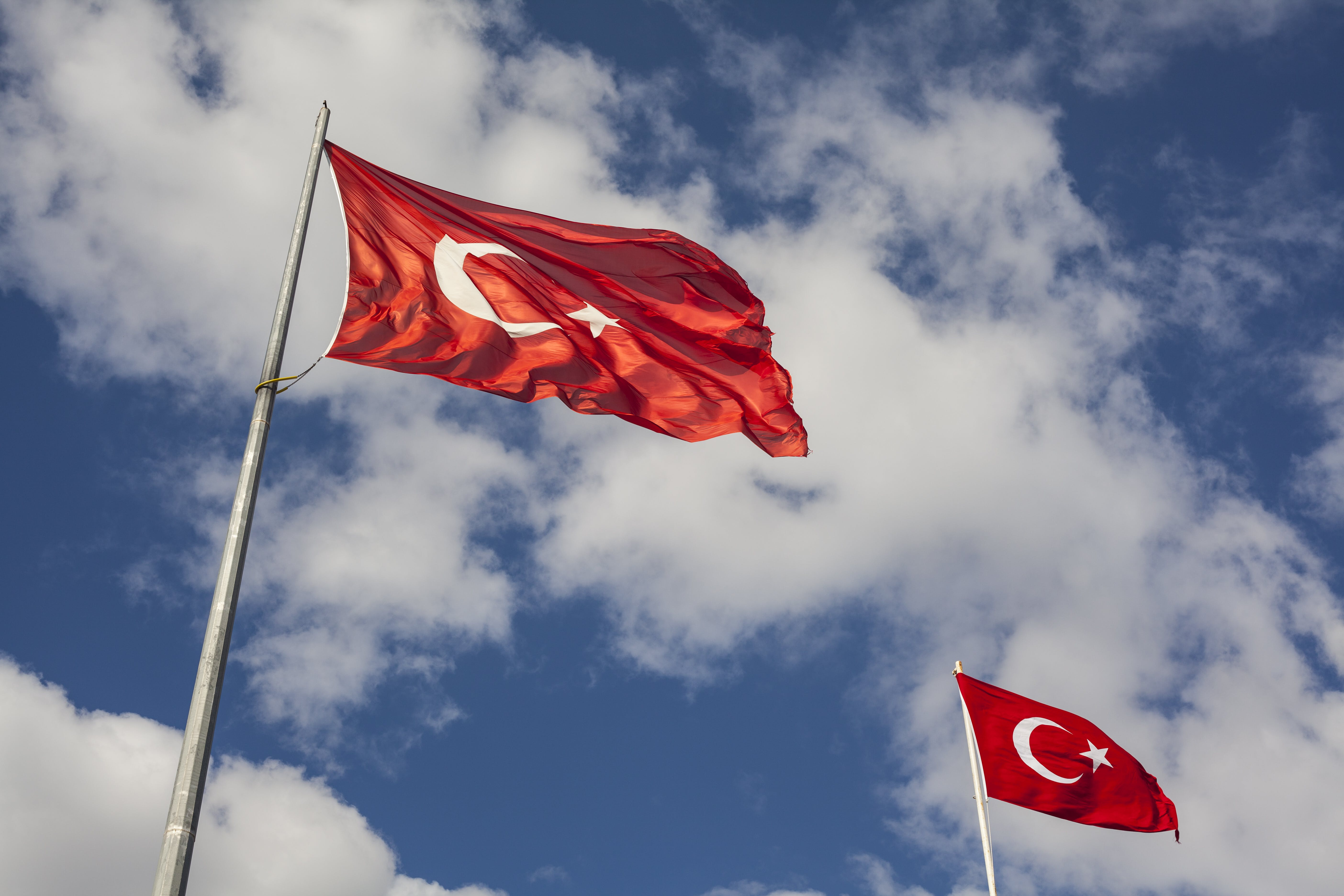 Photography of Two Turkey Flags