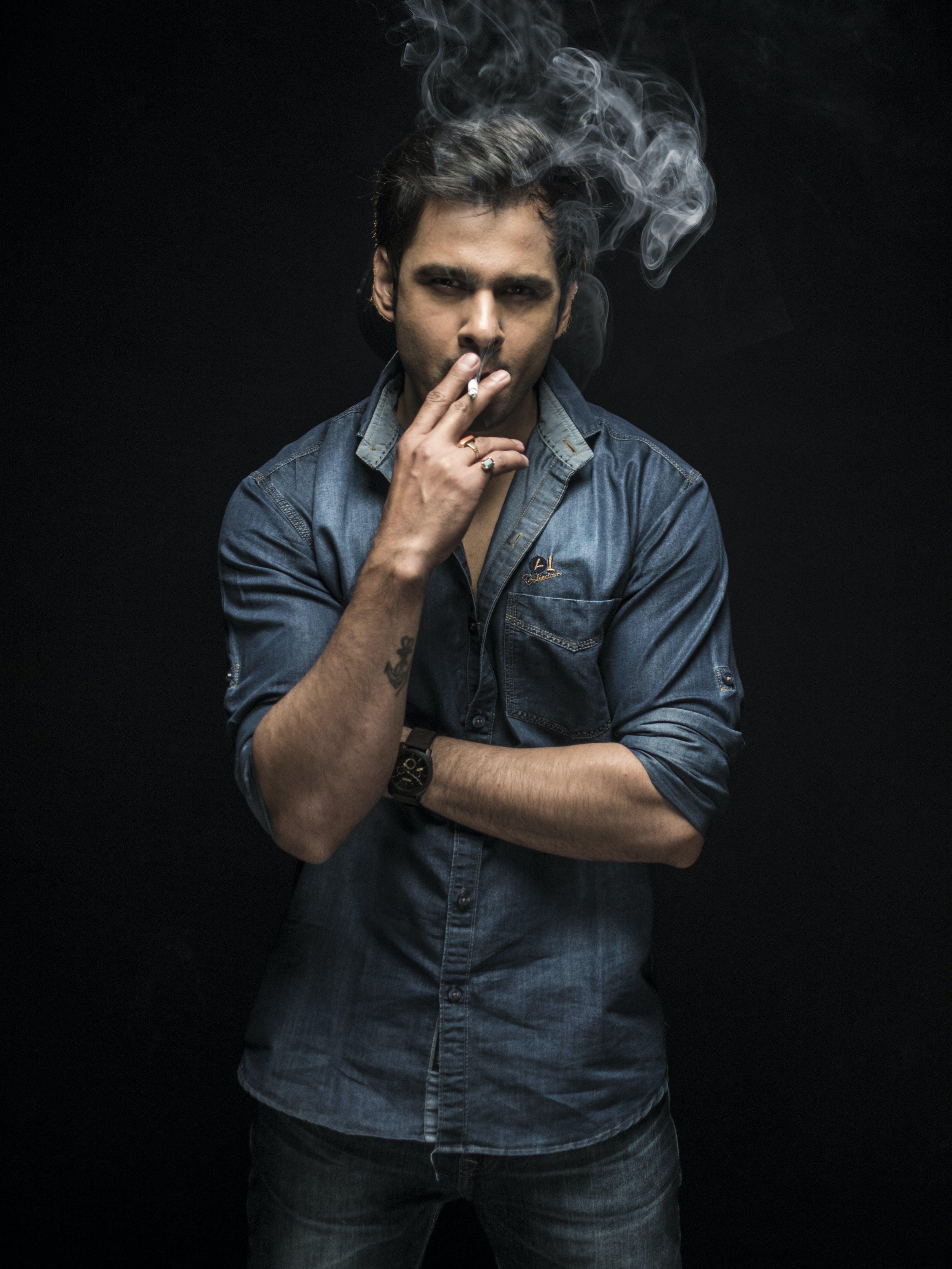 Free stock photo of cigarette, low key, man, smoke