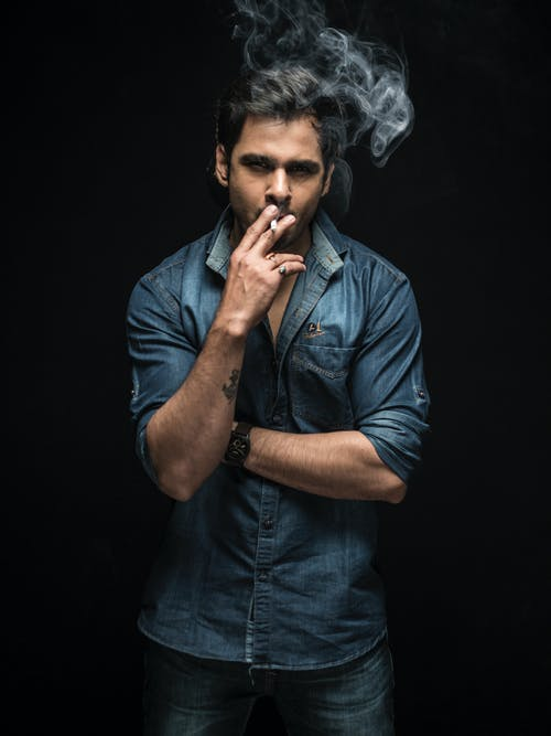 Free stock photo of cigarette, low key, man