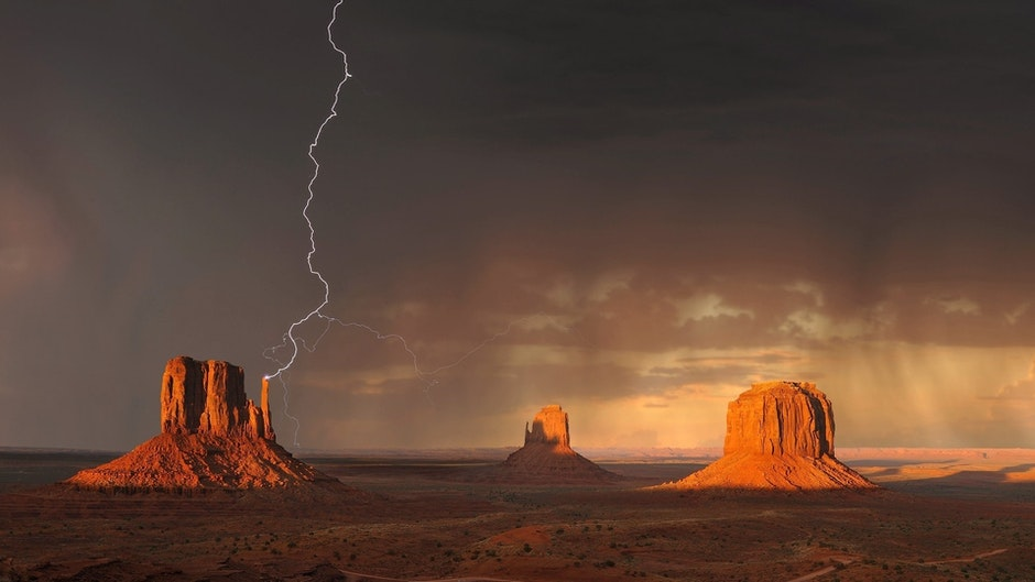 Grand Canyon Under Black Sky With Lightning during Daytime