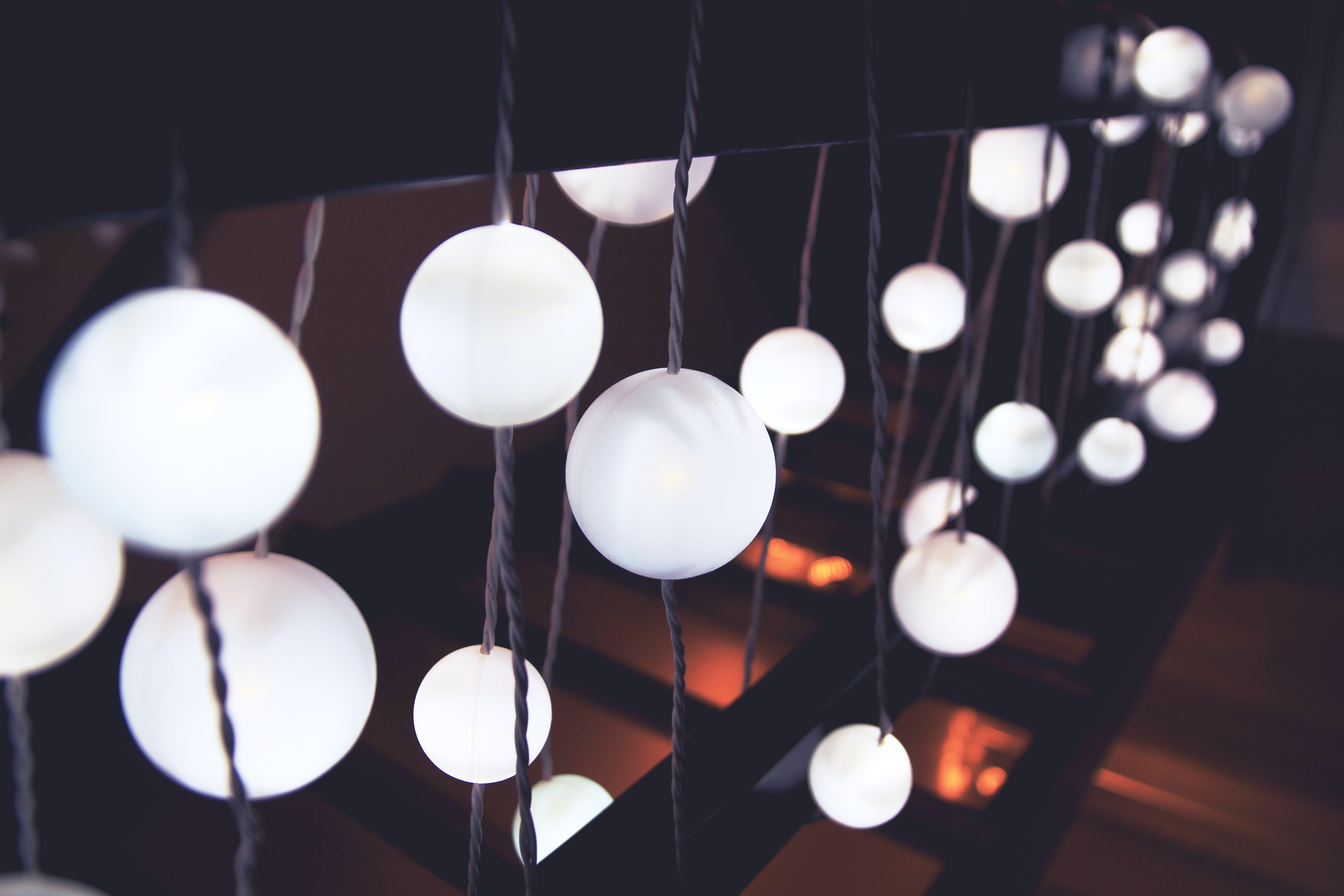 White String Lights on Black Hand Rail