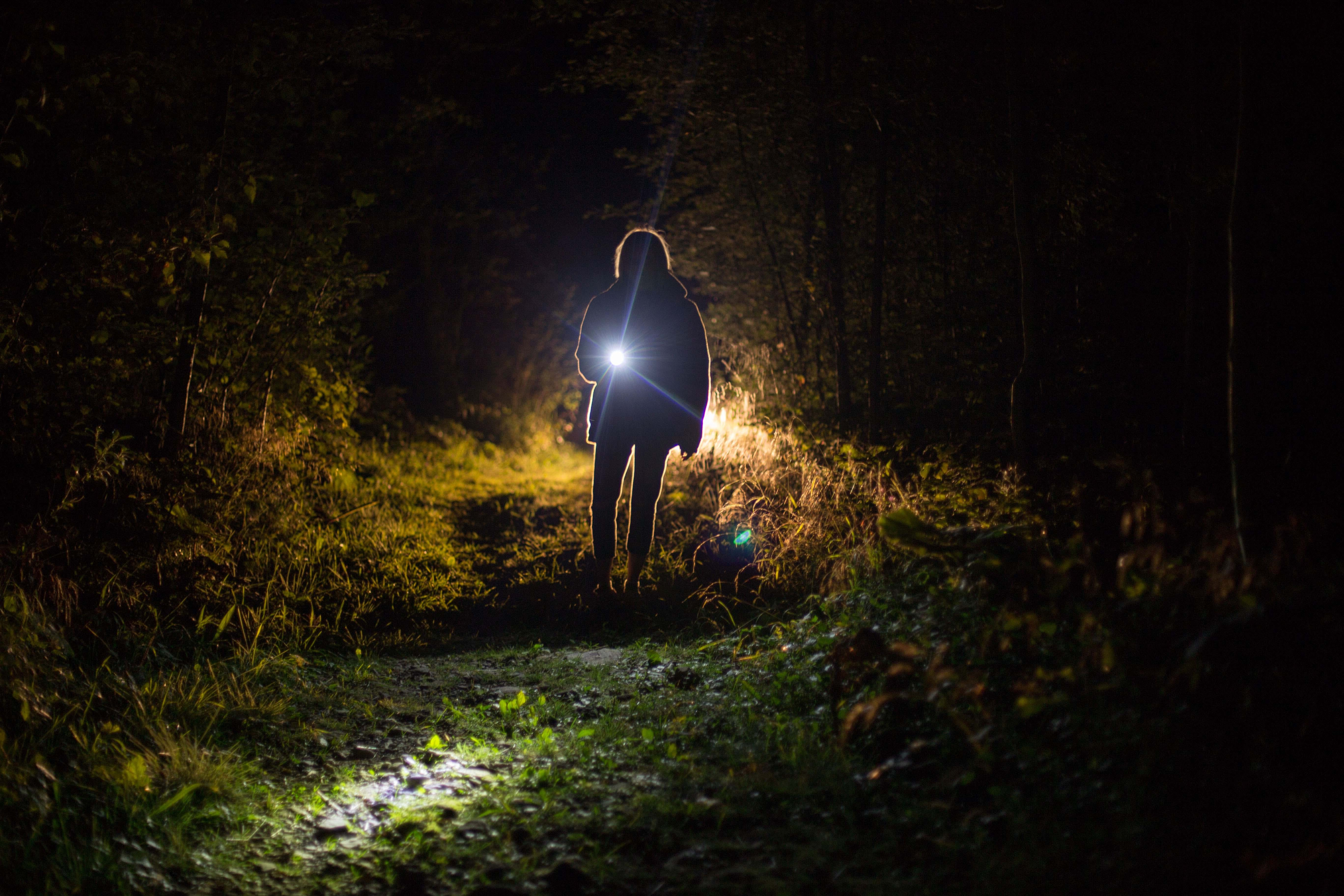 Person Holding Flashlight during Nighttime