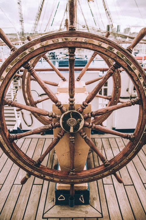 Wooden steerable wheel of sailing ship