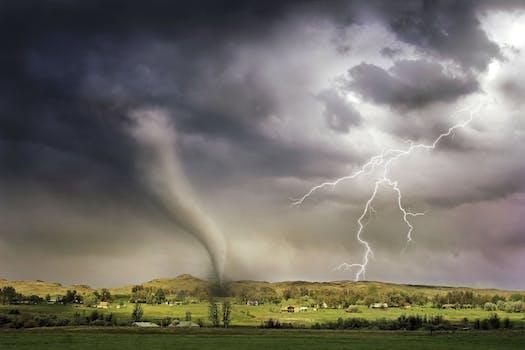 Lightning and Tornado Hitting Village