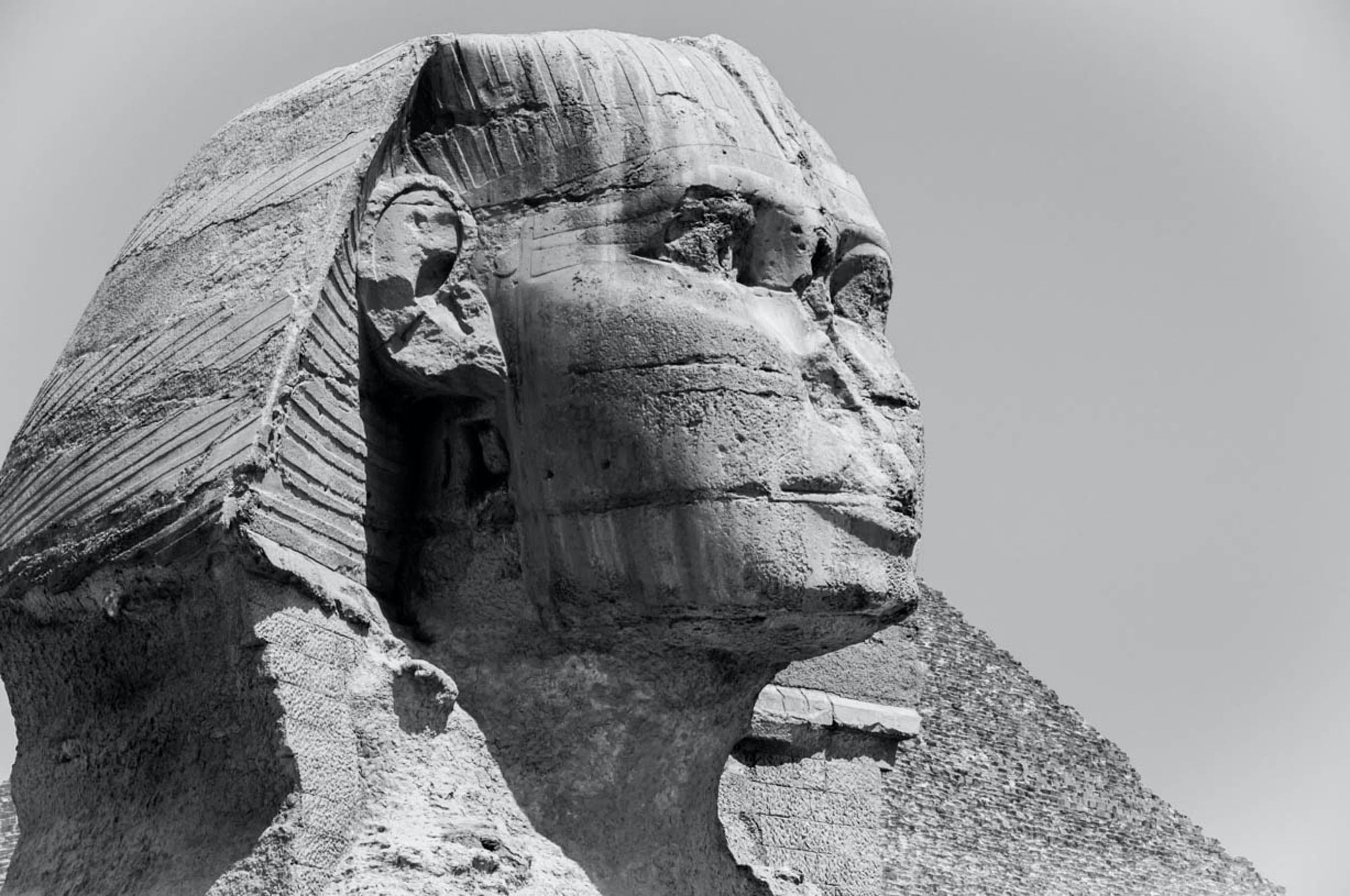 Grayscale Photo of the Great Sphinx of Giza