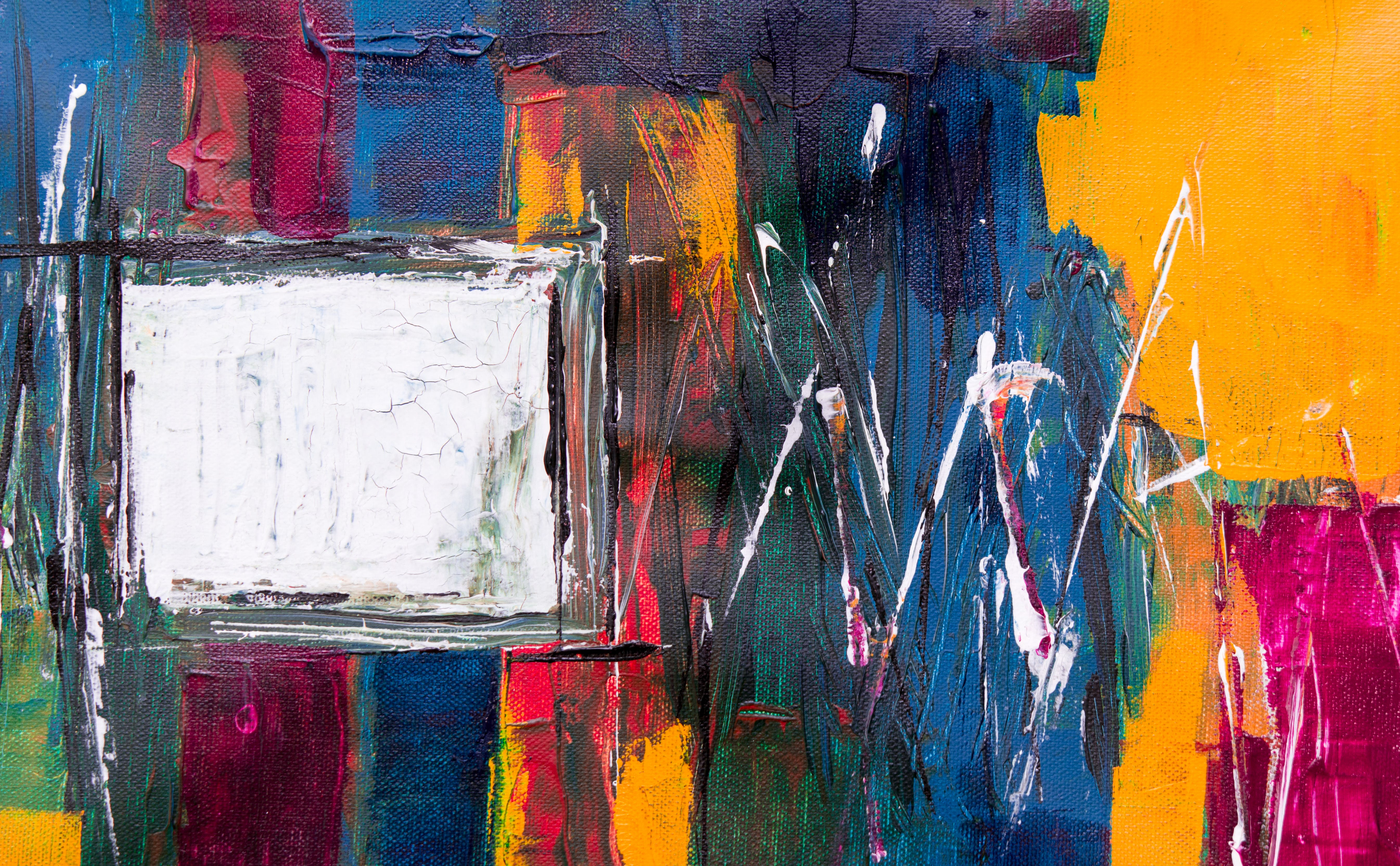 Blue, Red, and White Abstract Painting