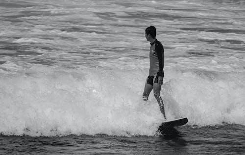 Free stock photo of beach, black-and-white, man, street photo
