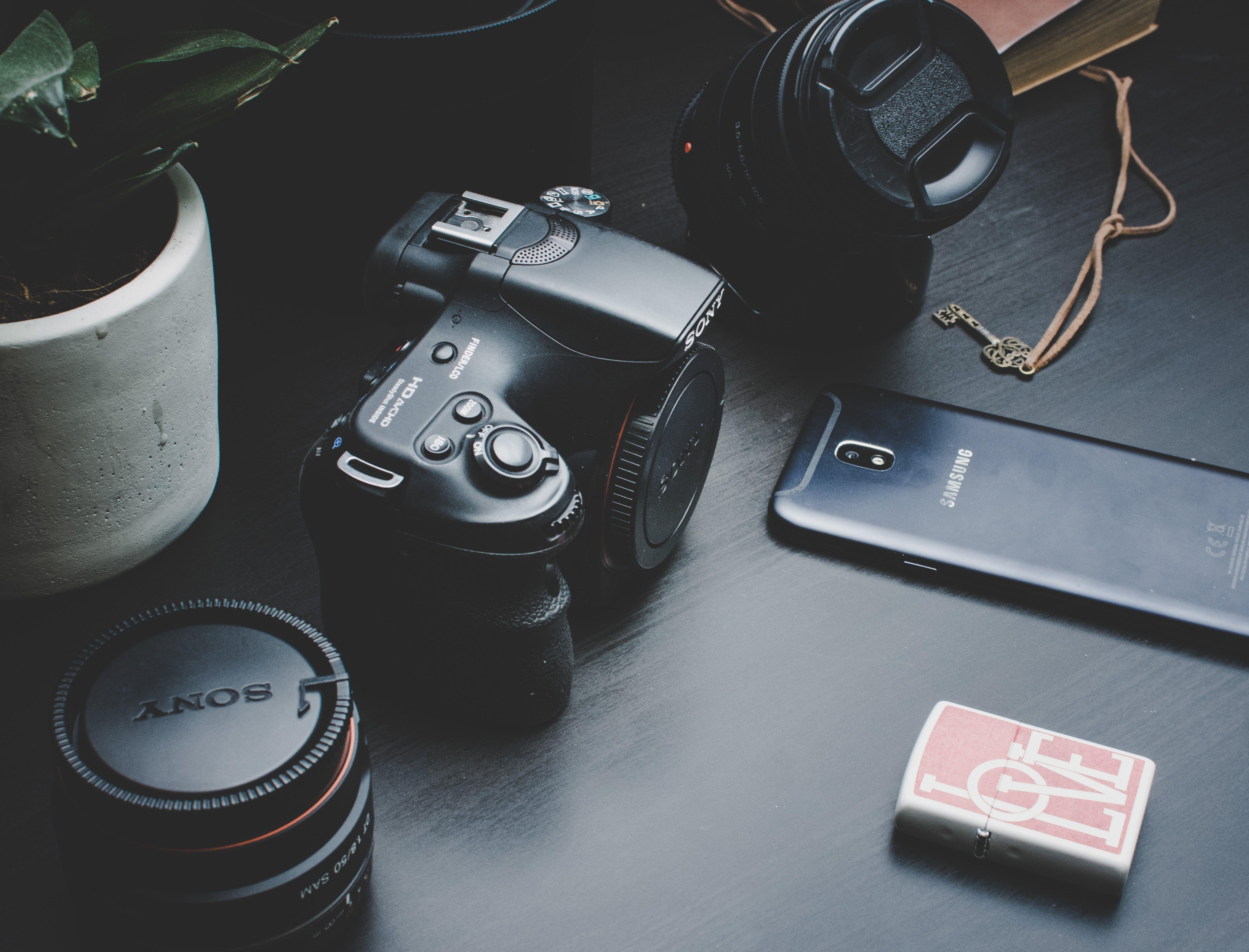 Black Sony Dlsr Camera
