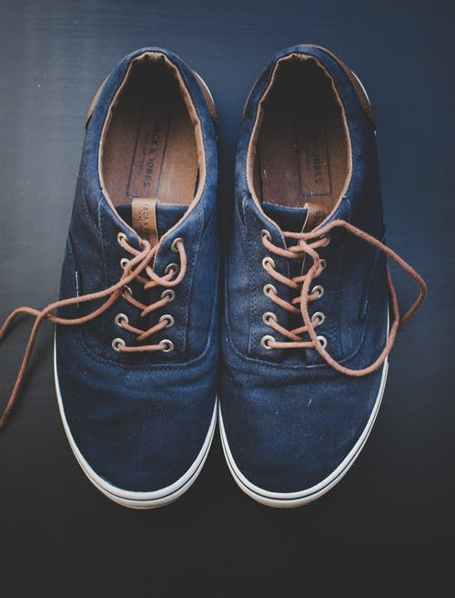Pair of Blue Low-top Shoes