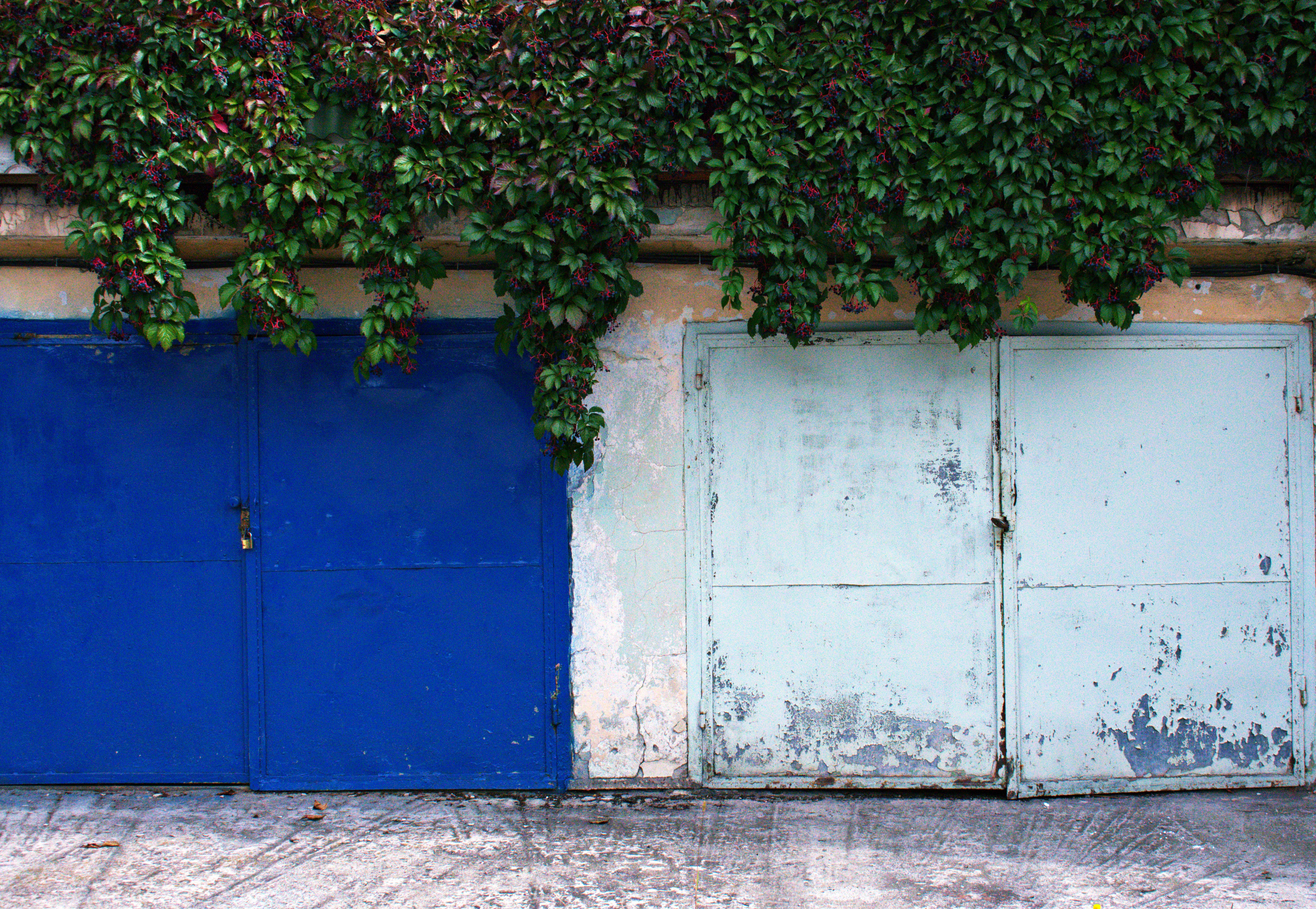 Two Blue Metal Closed Gates