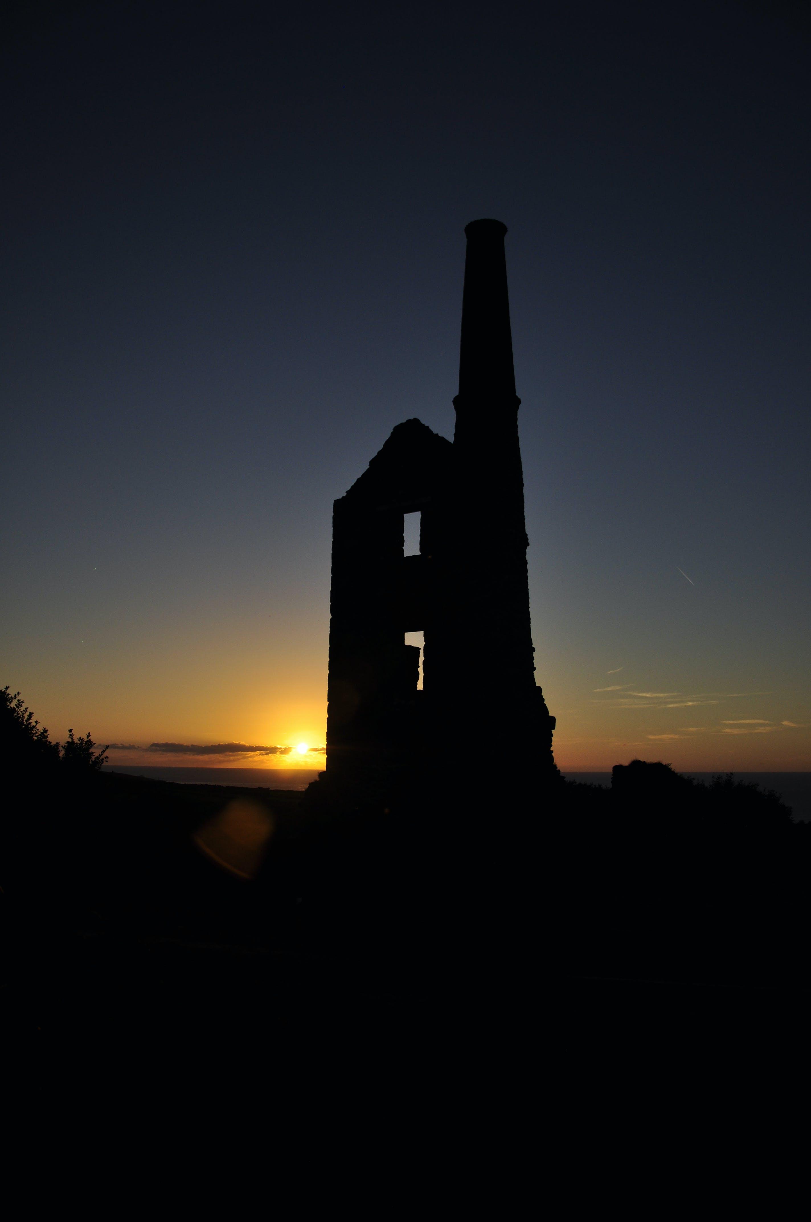 Free stock photo of engine house. mining, silhouette, sunset