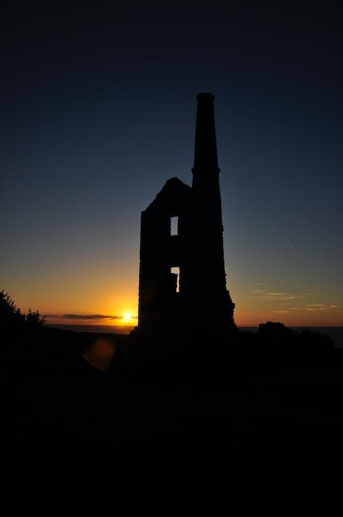 Fotos de stock gratuitas de casa del motor minería, puesta de sol