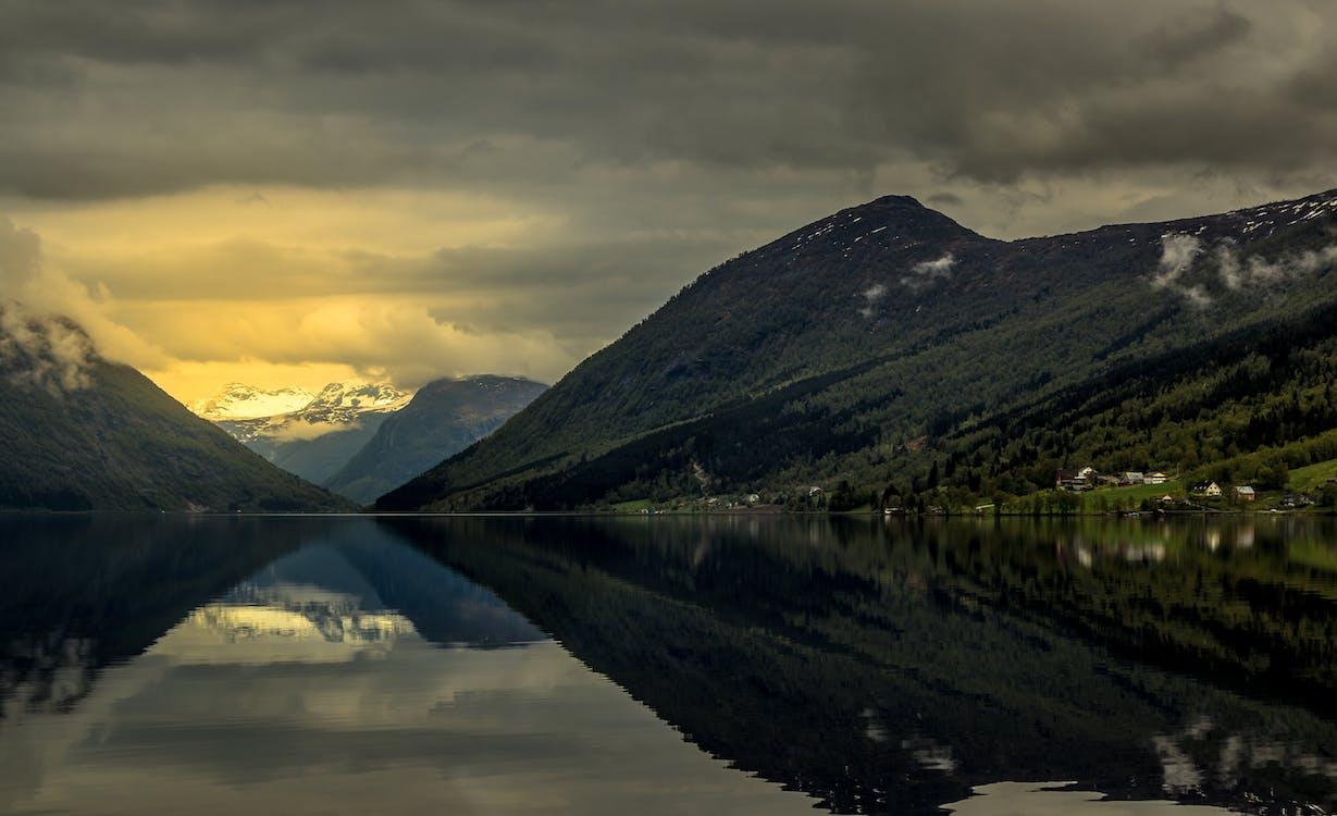 αντανάκλαση, αυγή, βουνό