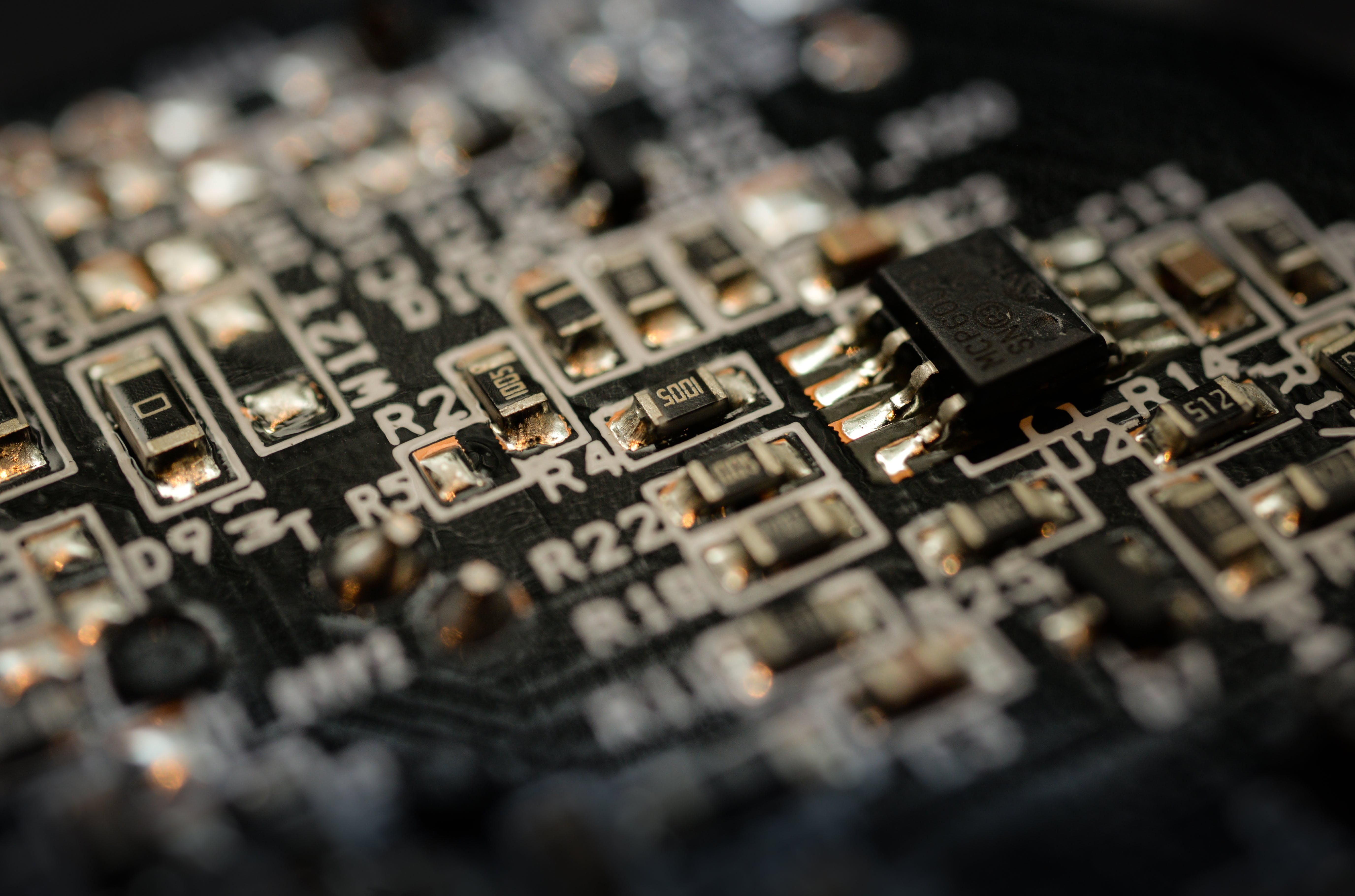 Shallow Focus Photography of Black Circuit Board