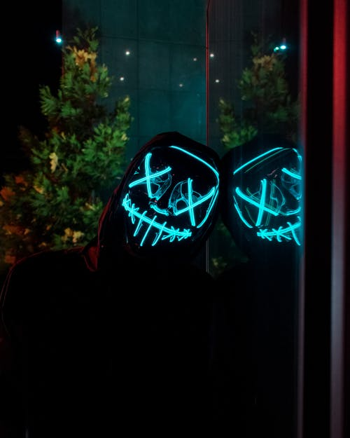 Free stock photo of led, led light up mask, light