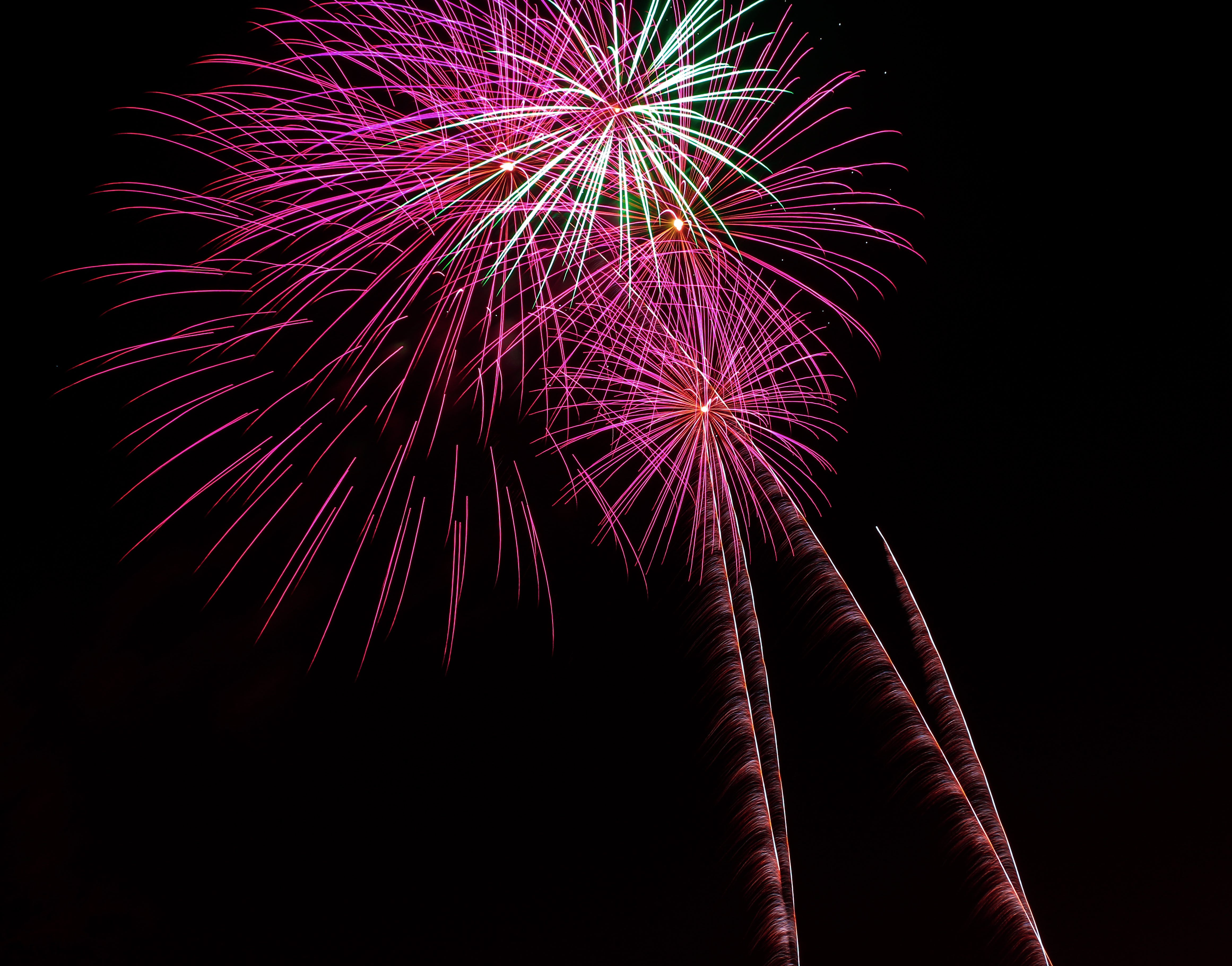 Pink and Green Fireworks