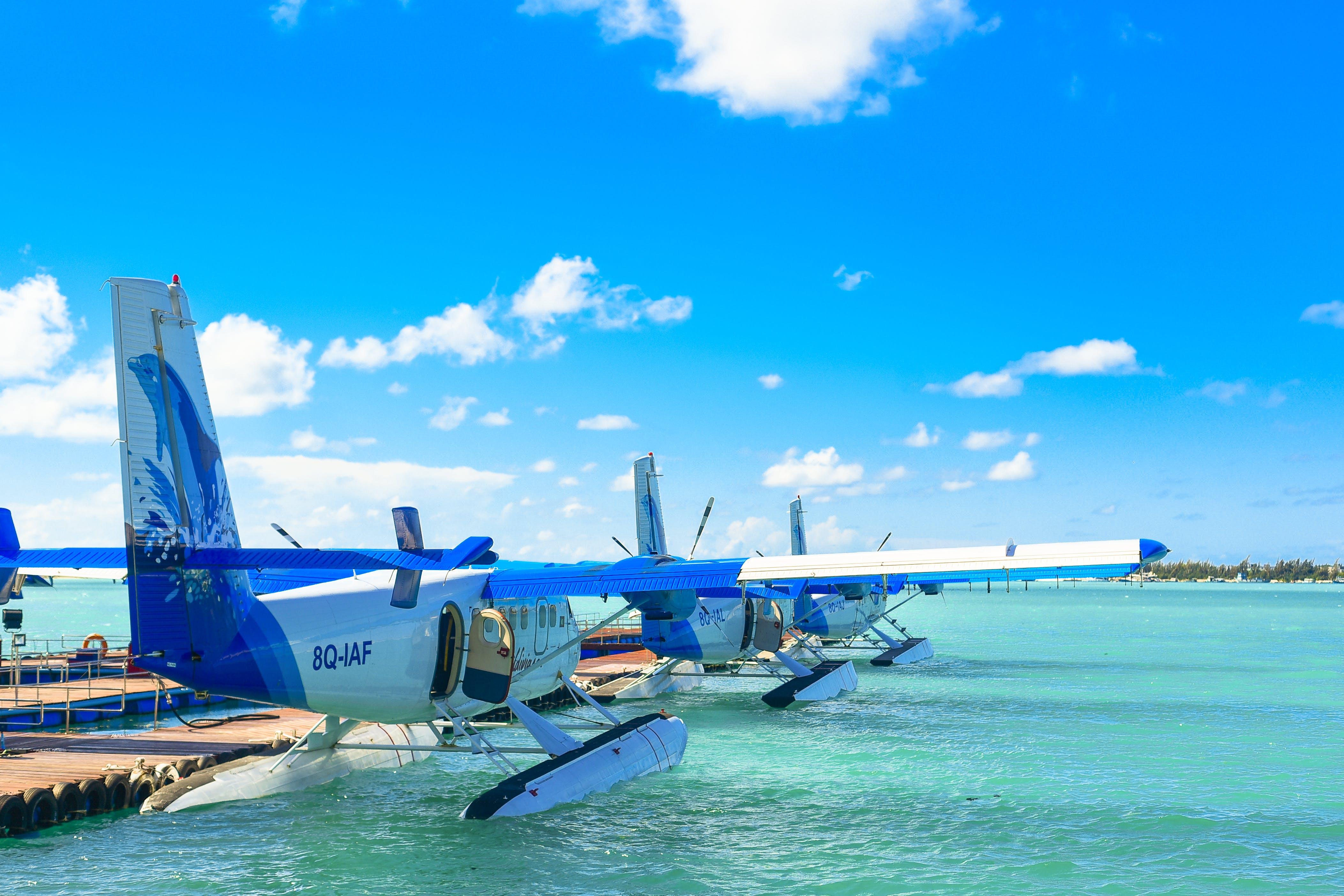 Three Blue-and-white Amphibious Planes