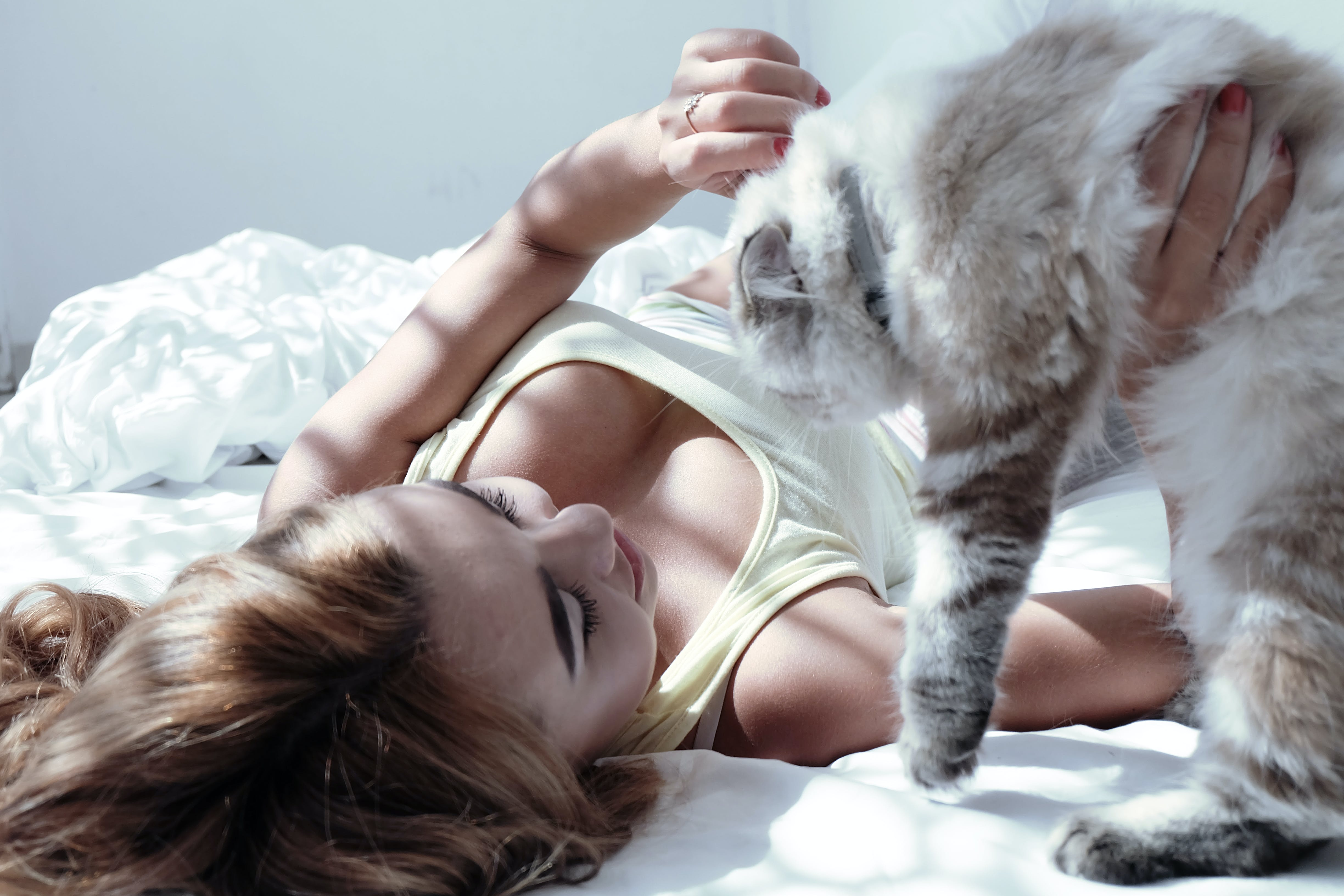 Photo of Woman Lying on Bed Holding Cat