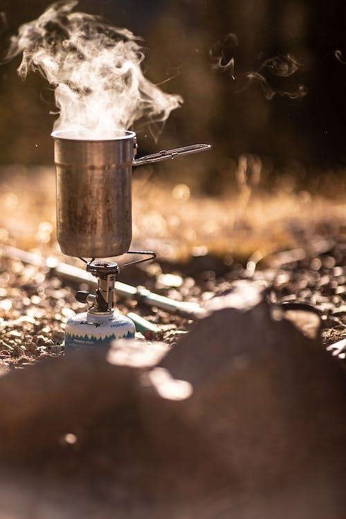 Free stock photo of Camp Coffee, coffee, morning light, steam