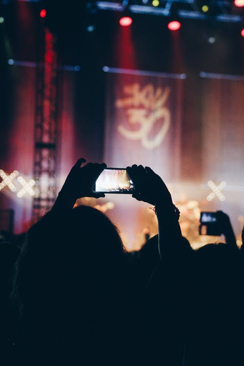 Person Using Phone at Concert