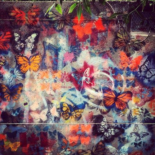 beton, boya, duvar yazısı, kelebekler içeren Ücretsiz stok fotoğraf