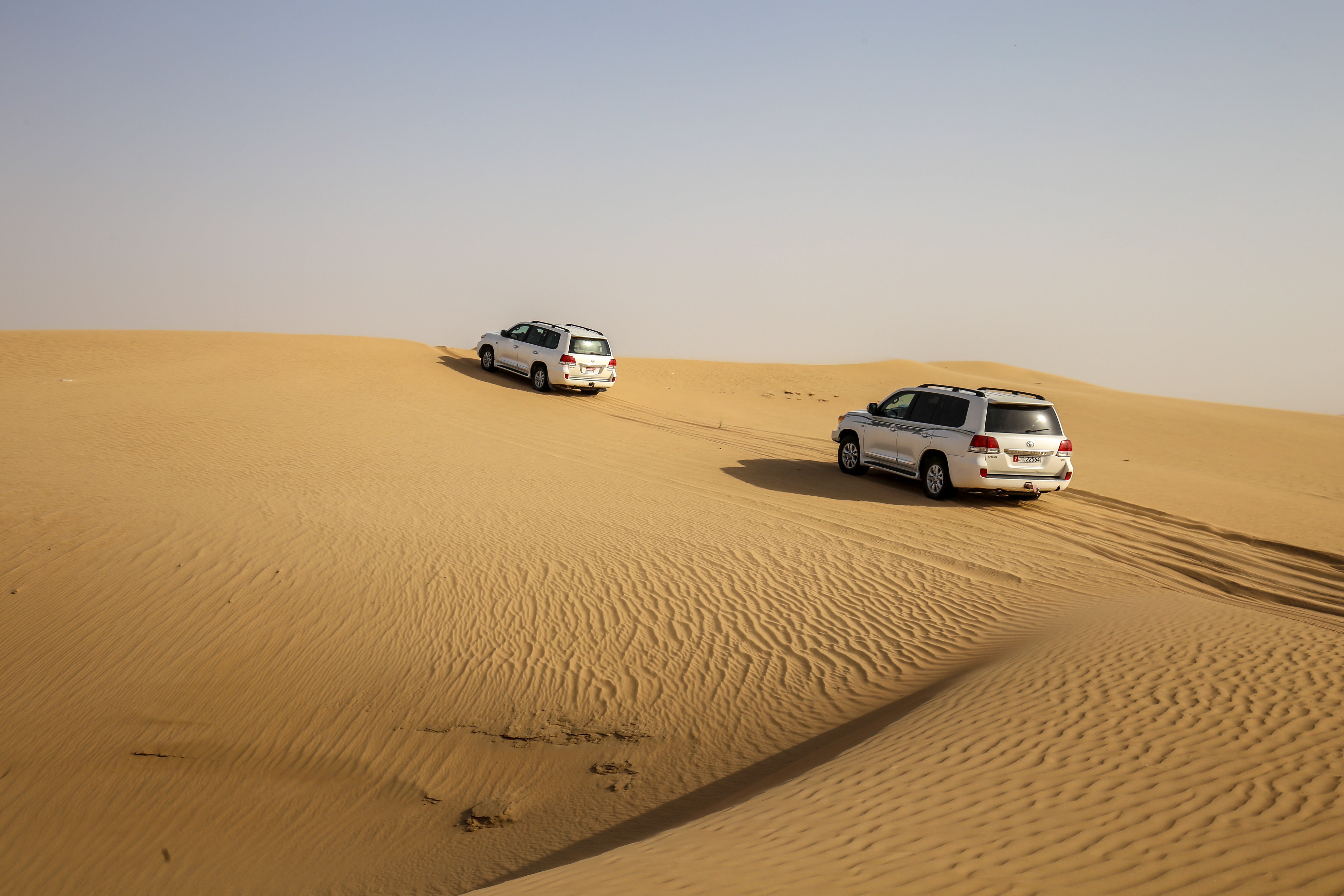 Vehicles Traveling in a Desert